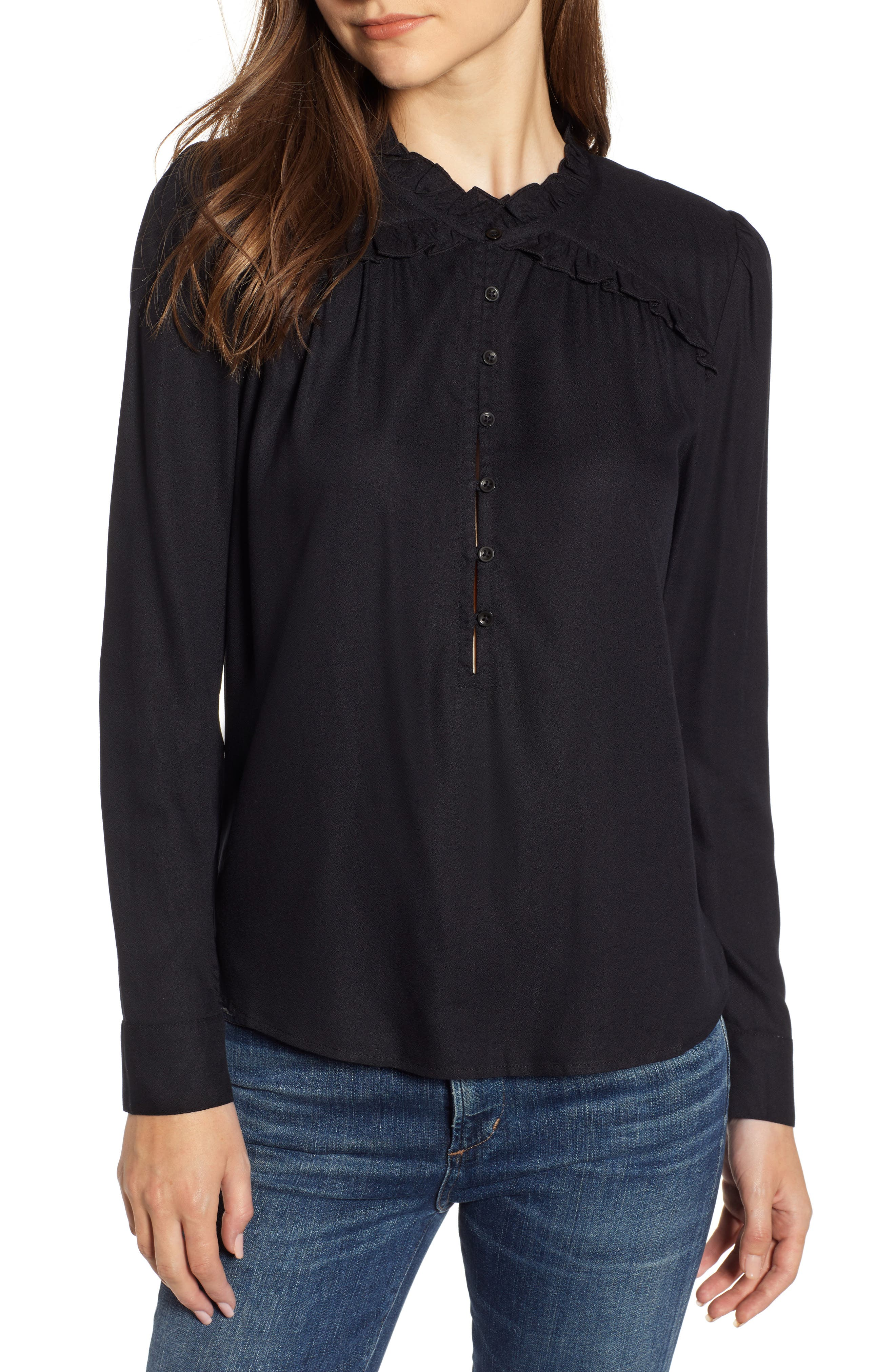 HINGE Ruffle Detail Popover Blouse, Main, color, BLACK