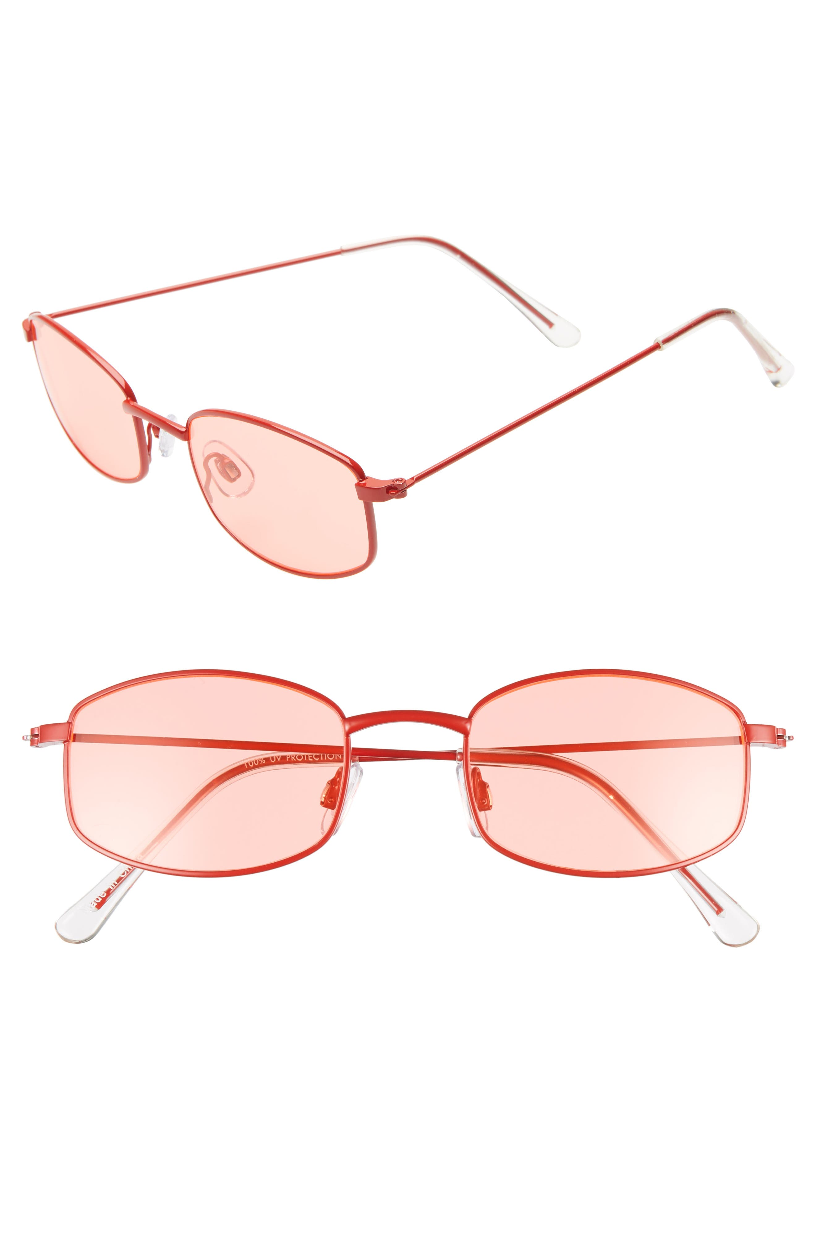 Mini 55mm Square Sunglasses,                         Main,                         color, RED