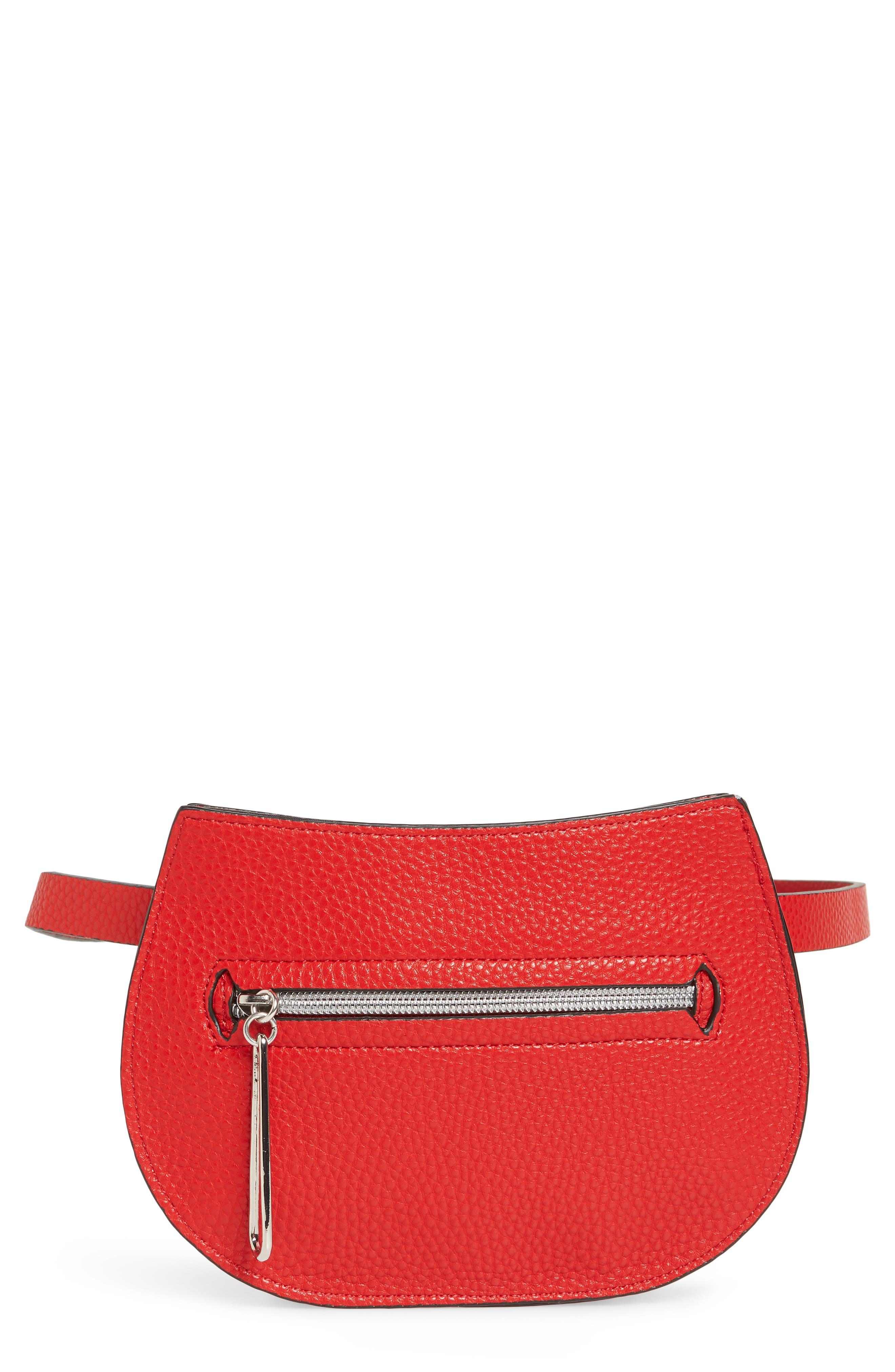 Trish Faux Leather Belt Bag,                             Main thumbnail 1, color,                             RED
