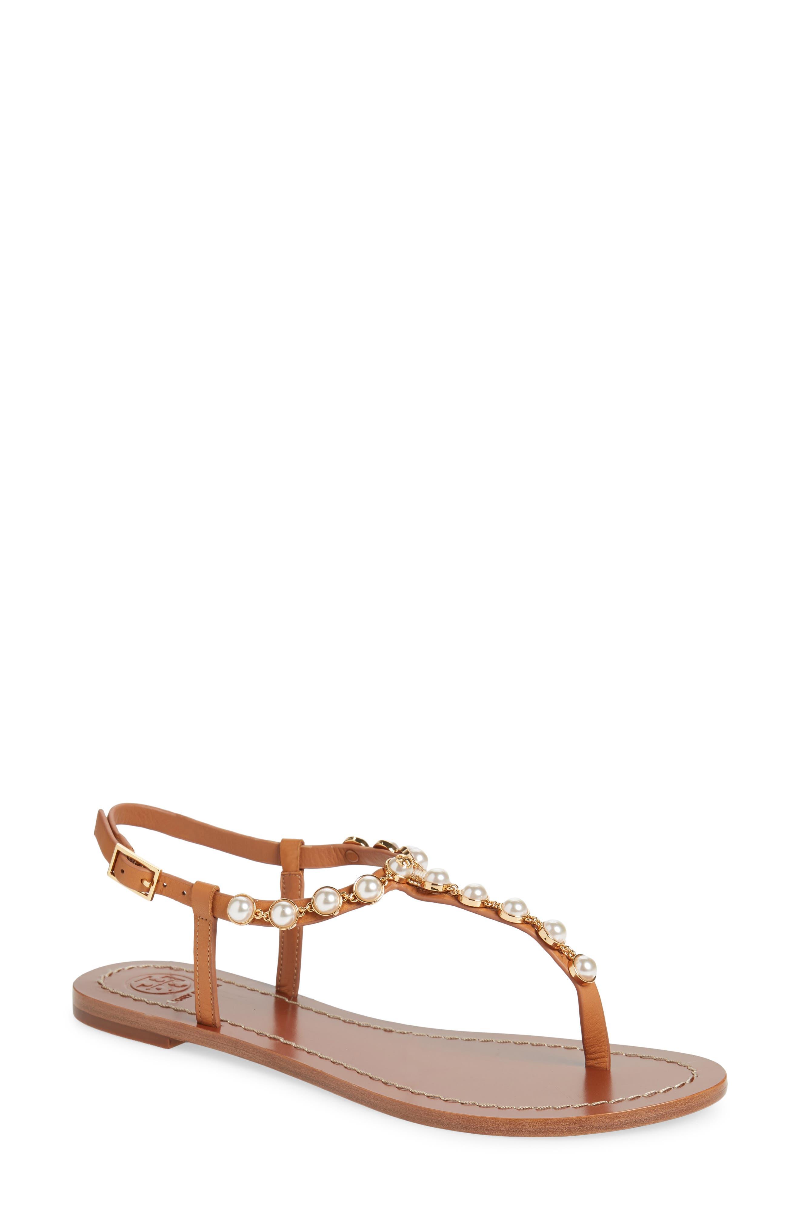 Emmy Embellished T-Strap Sandal in Tan