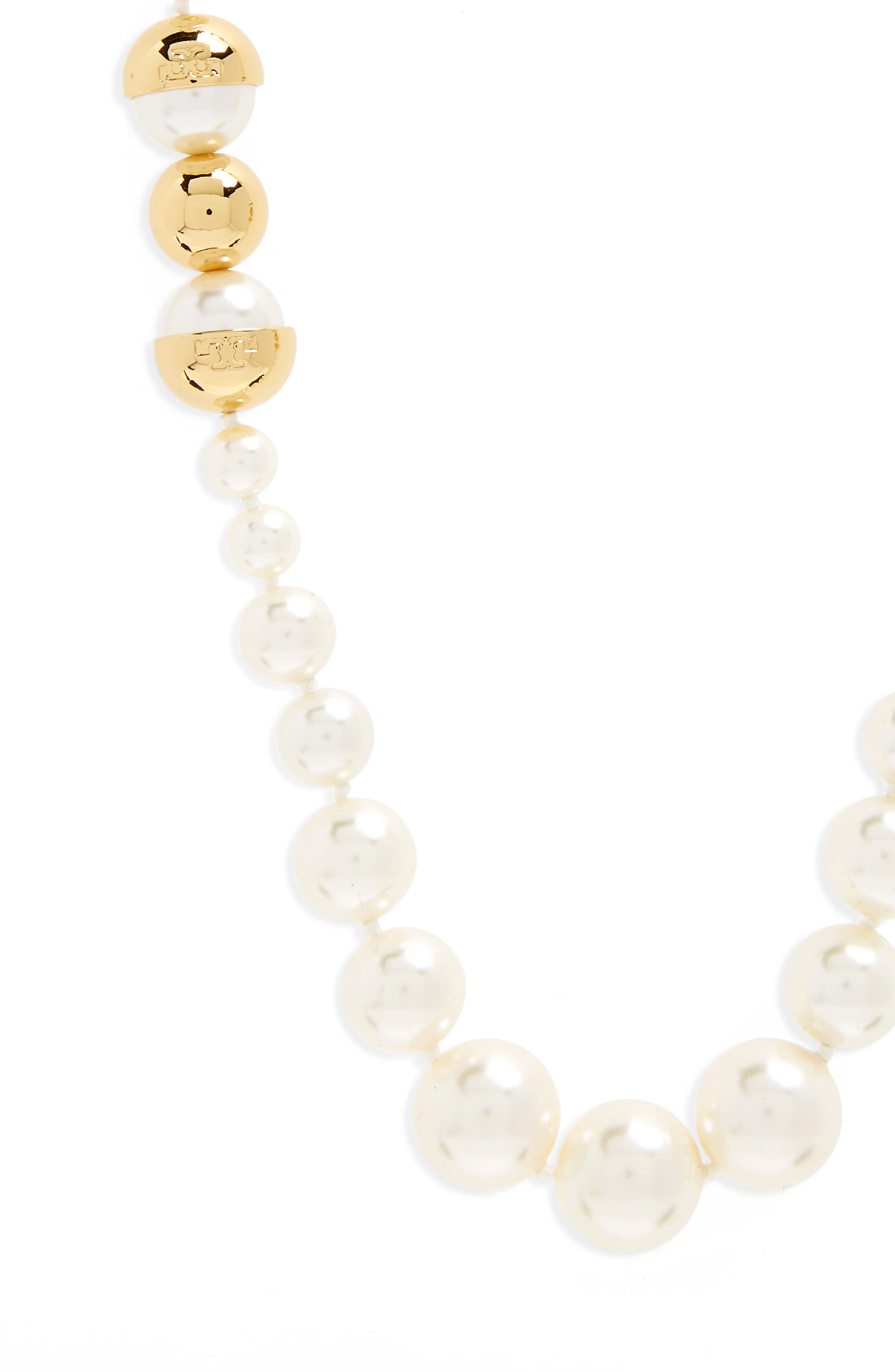 TORY BURCH,                             Imitation Pearl Strand Necklace,                             Alternate thumbnail 2, color,                             IVORY / TORY GOLD