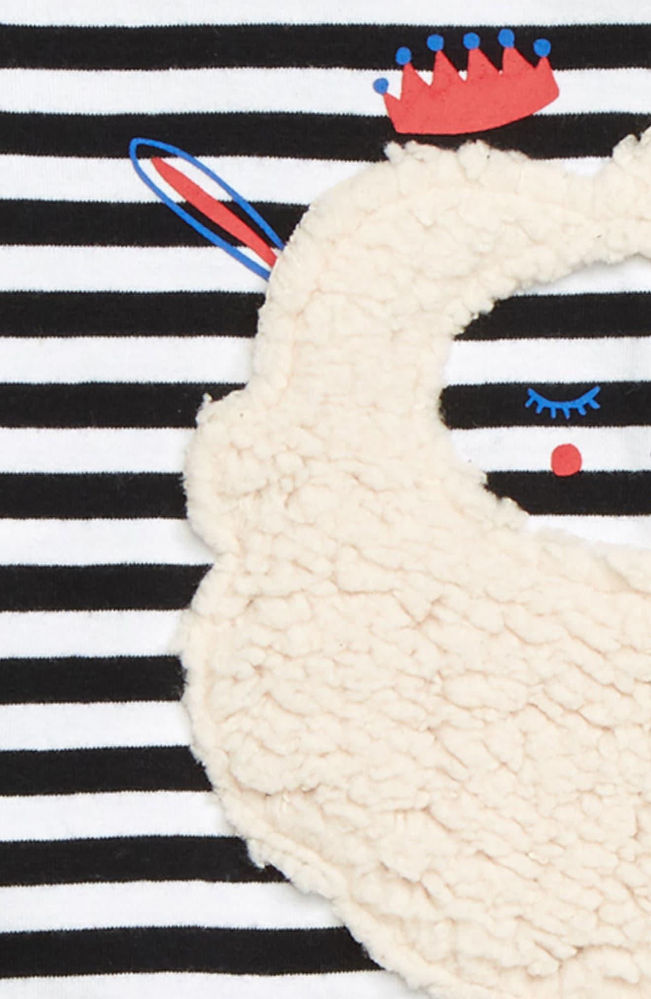 TUCKER + TATE,                             Fuzzy Faux Fur Appliqué Peplum Tunic,                             Alternate thumbnail 2, color,                             BLACK- WHITE FUZZY SHEEP