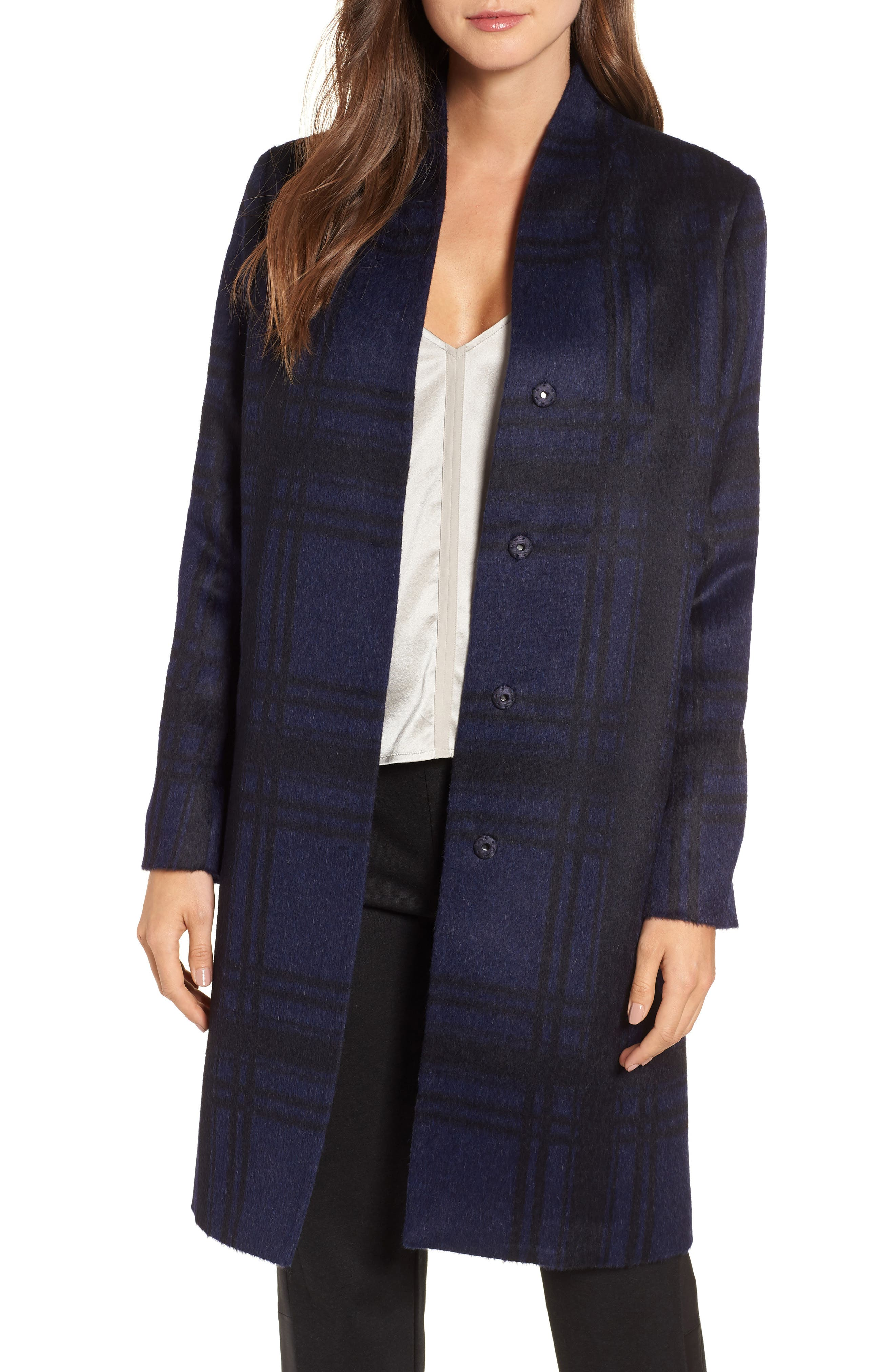 Plaid Alpaca Blend Coat,                         Main,                         color, 419