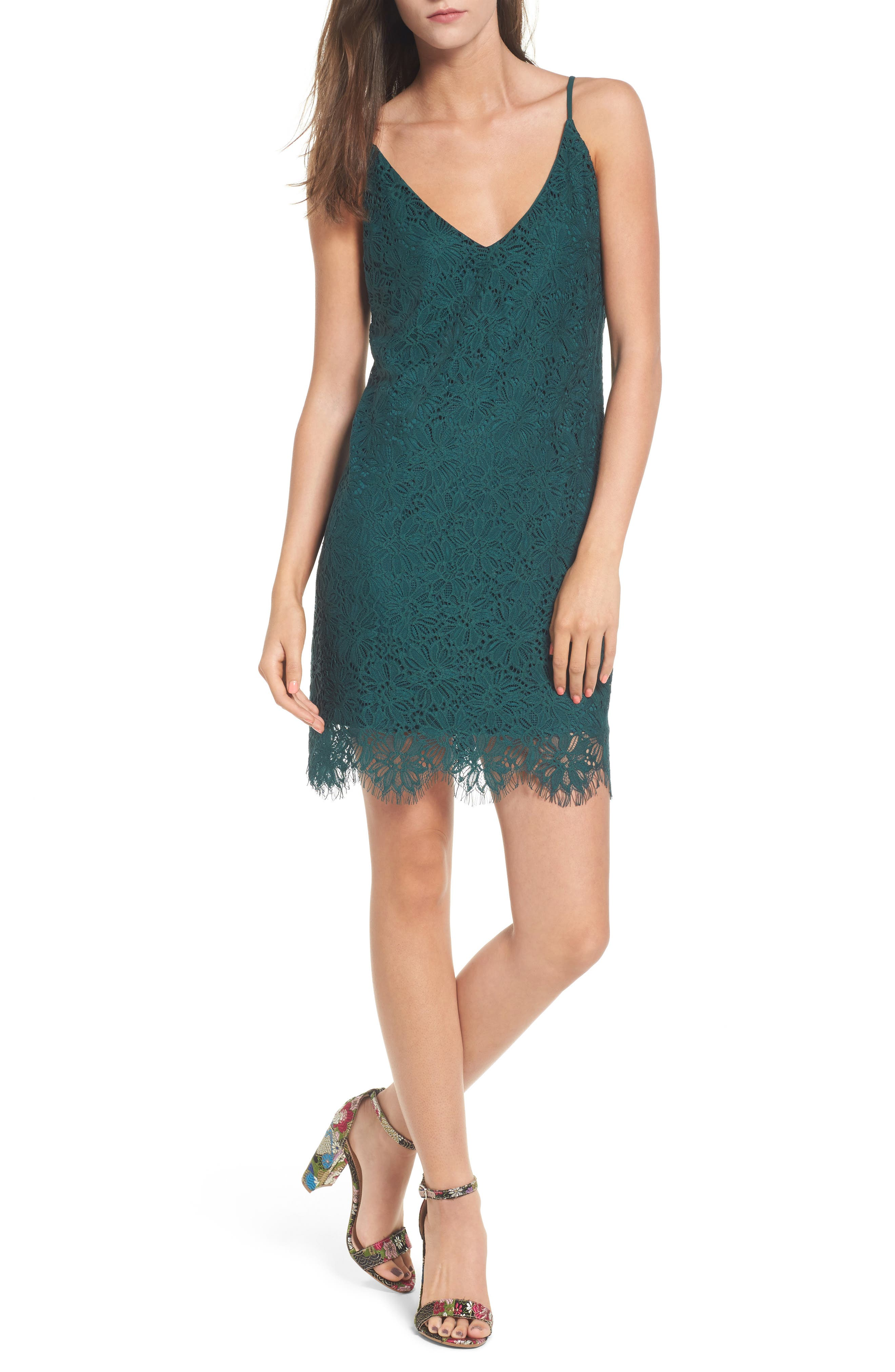 Scallop Hem Lace Slipdress,                         Main,                         color, 300