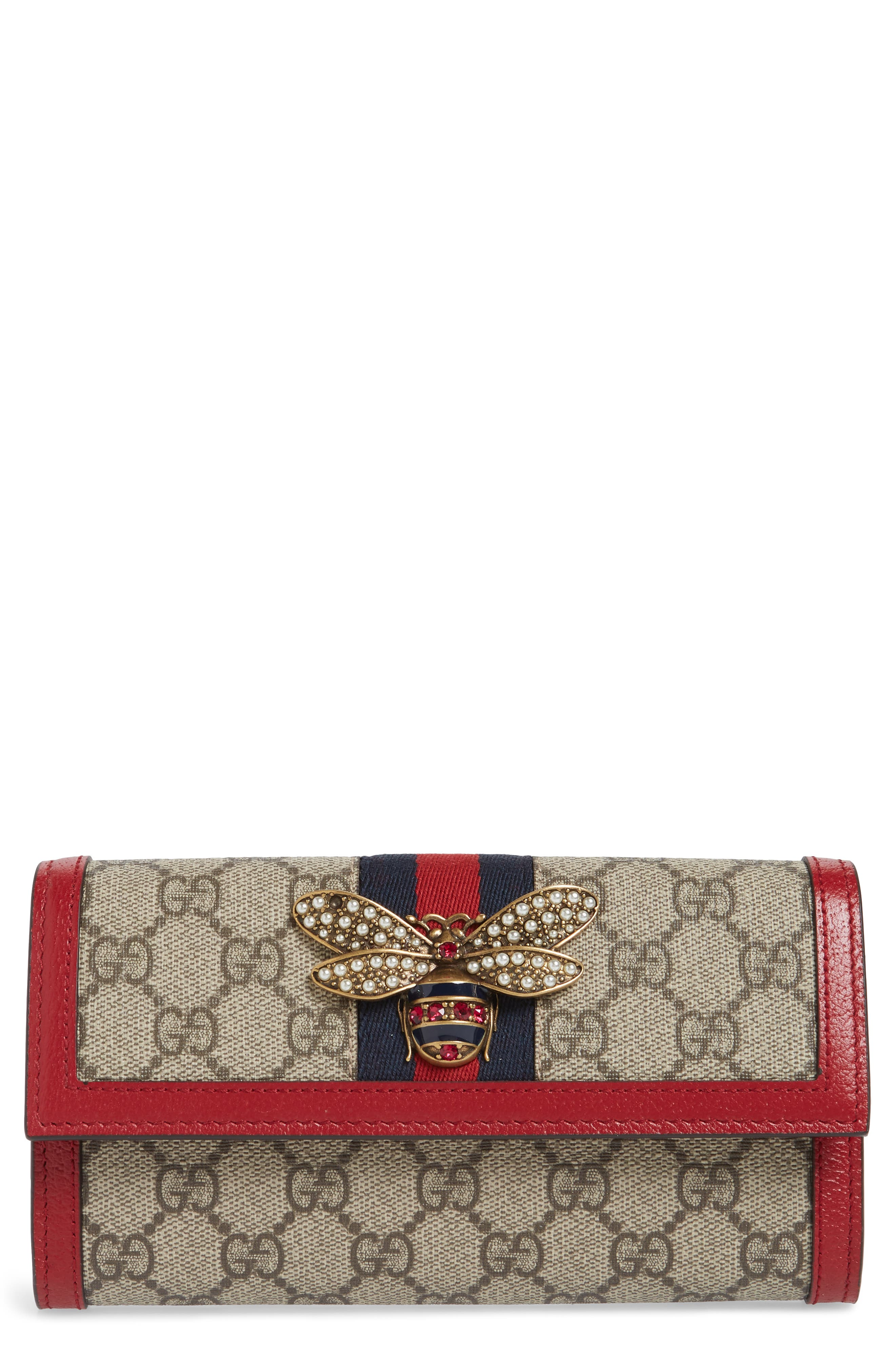 Queen Margaret GG Supreme Canvas Flap Wallet,                         Main,                         color, BEIGE EBONY/ BLUE RED/ RUBY