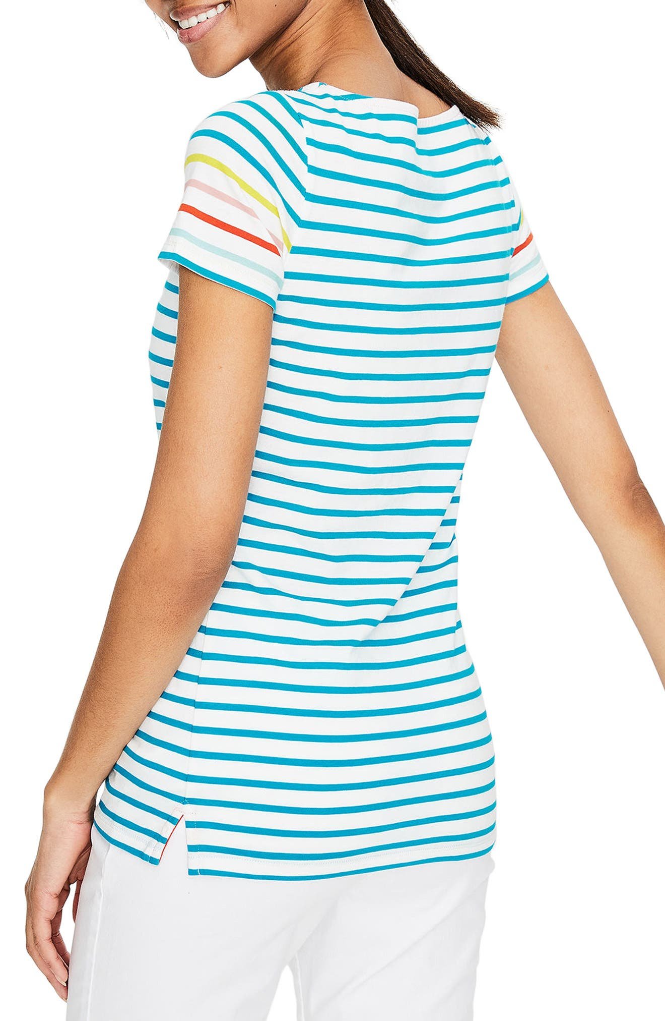 Breton Short Sleeve Stripe Cotton Top,                             Alternate thumbnail 2, color,                             454