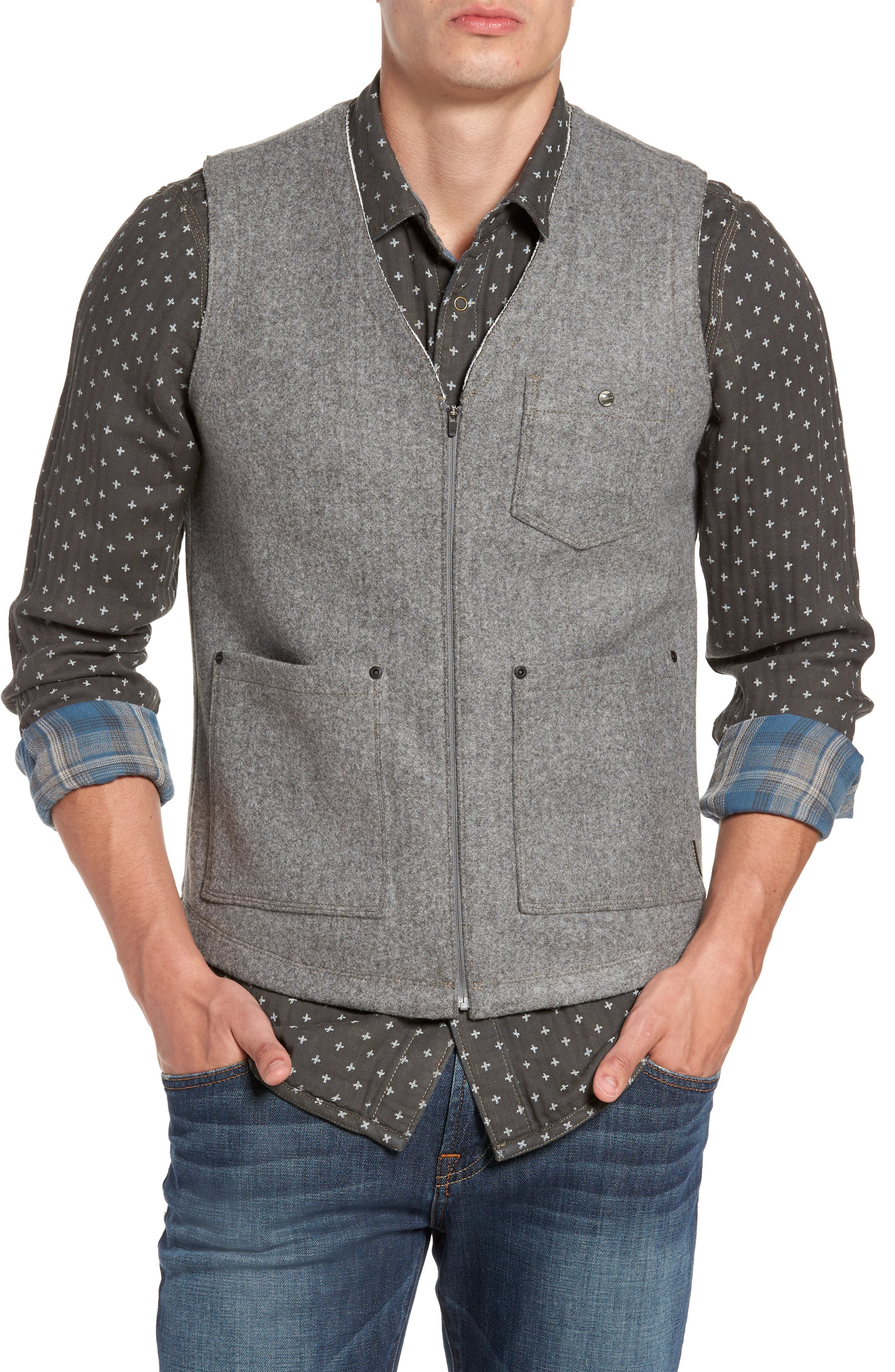 Cambria Heathered Zip Vest,                         Main,                         color, SMOKED PEARL