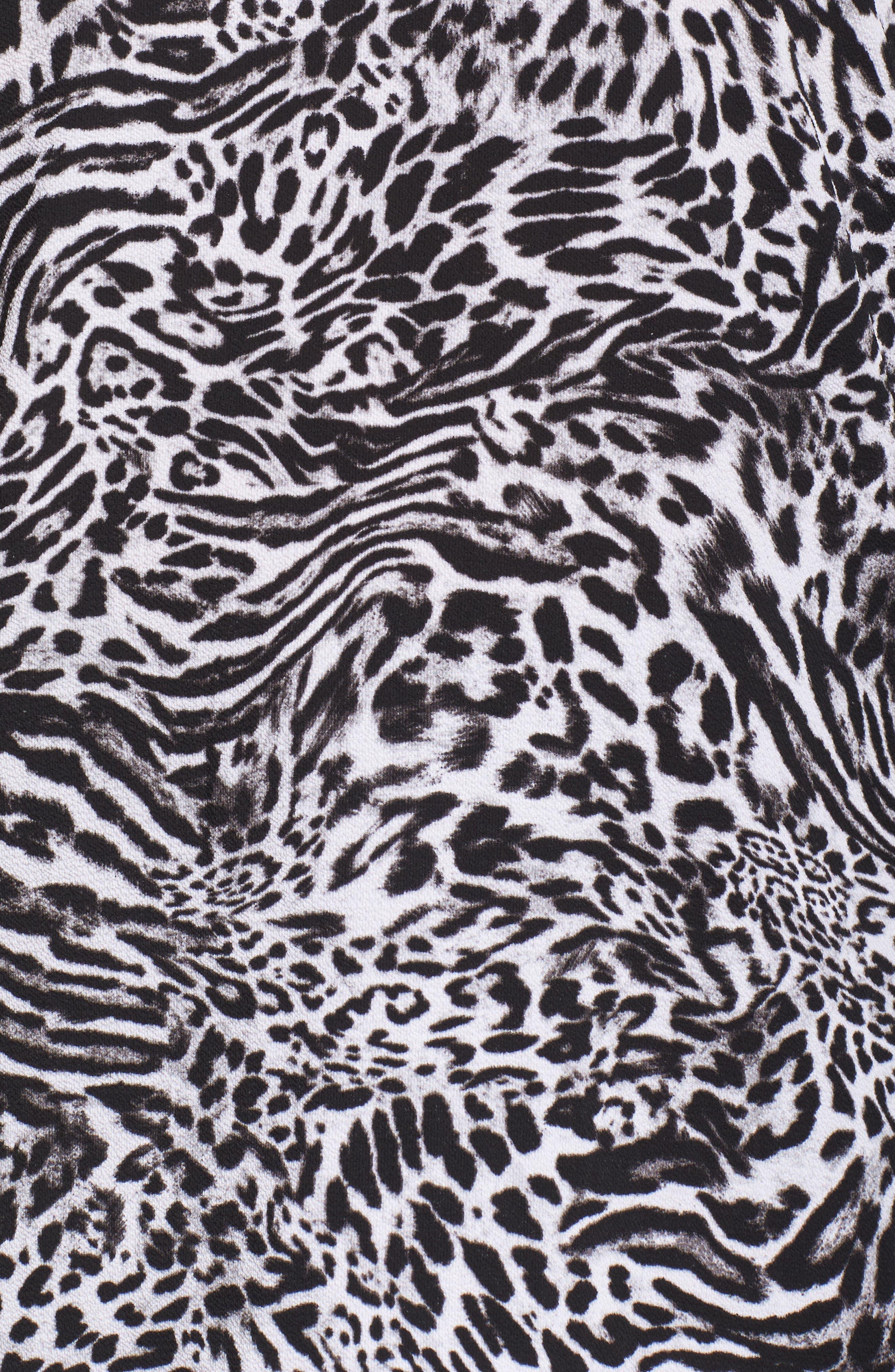 Big Cat Print Bell Sleeve Tunic,                             Alternate thumbnail 5, color,                             001