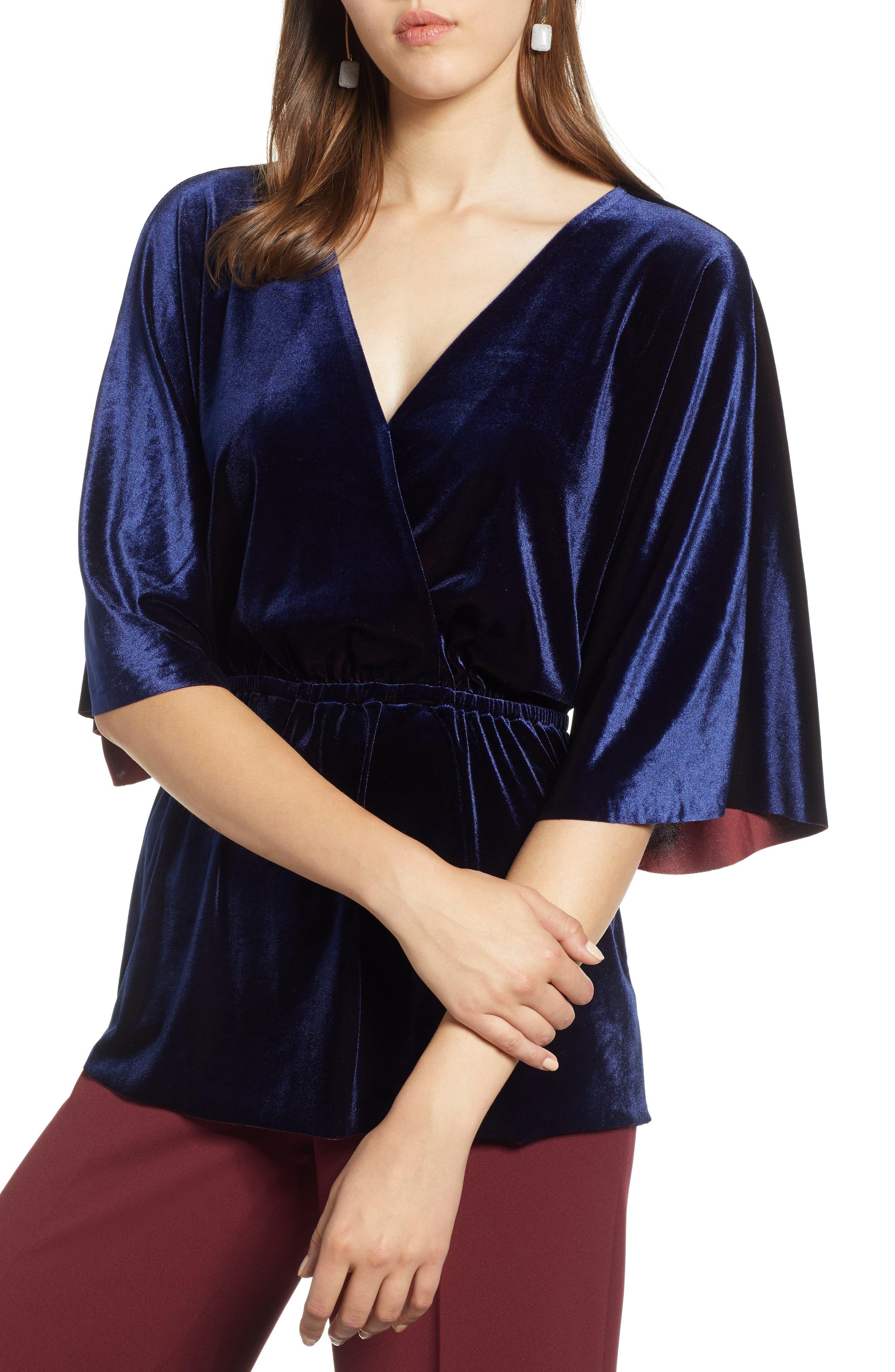 Faux Wrap Velvet Top,                         Main,                         color, NAVY