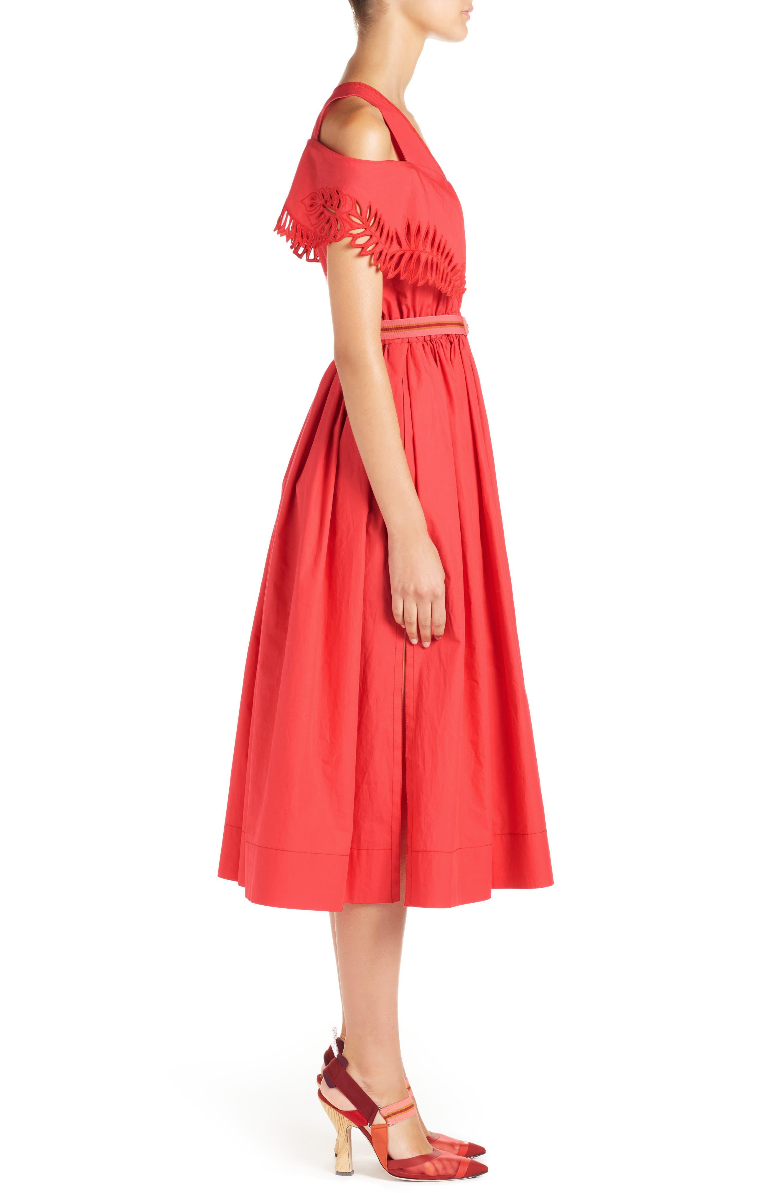 Cold Shoulder Taffeta Midi Dress,                             Alternate thumbnail 3, color,                             616
