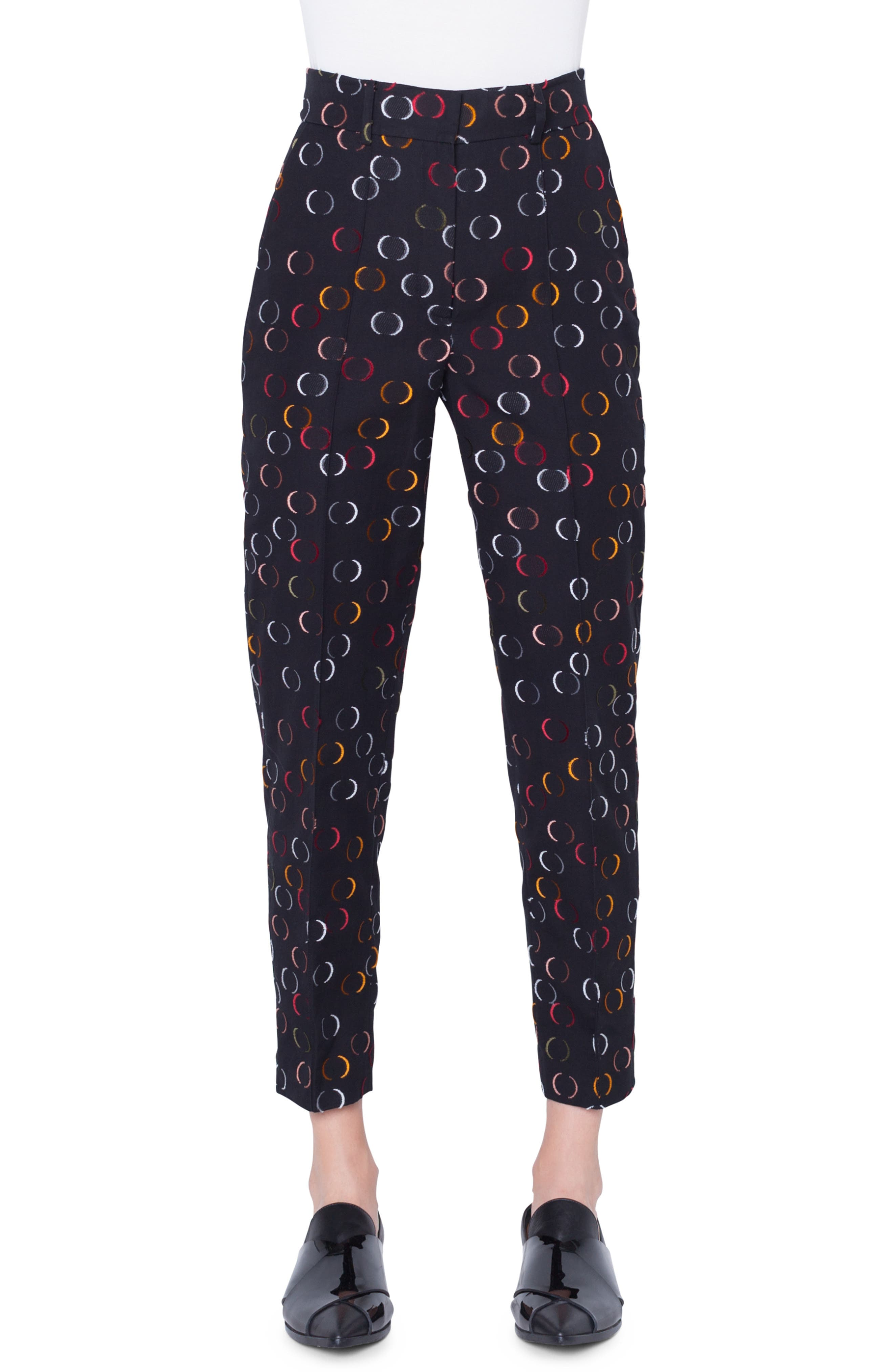 Ferry High-Waist Straight-Leg Cropped Circle-Cut Wire Pants in Nero-Multicolor