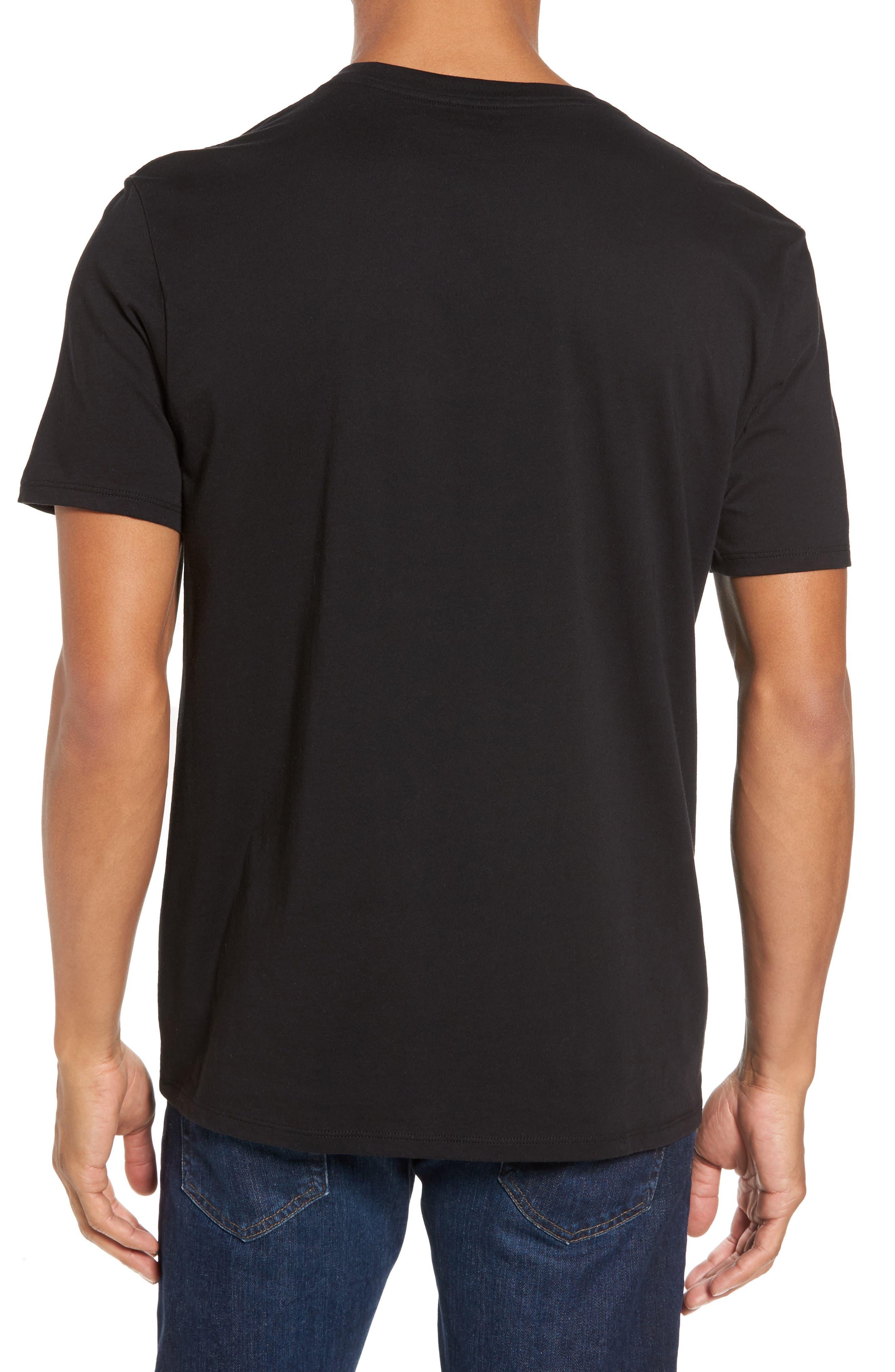 VINCE,                             Pima Cotton V-Neck T-Shirt,                             Alternate thumbnail 2, color,                             BLACK