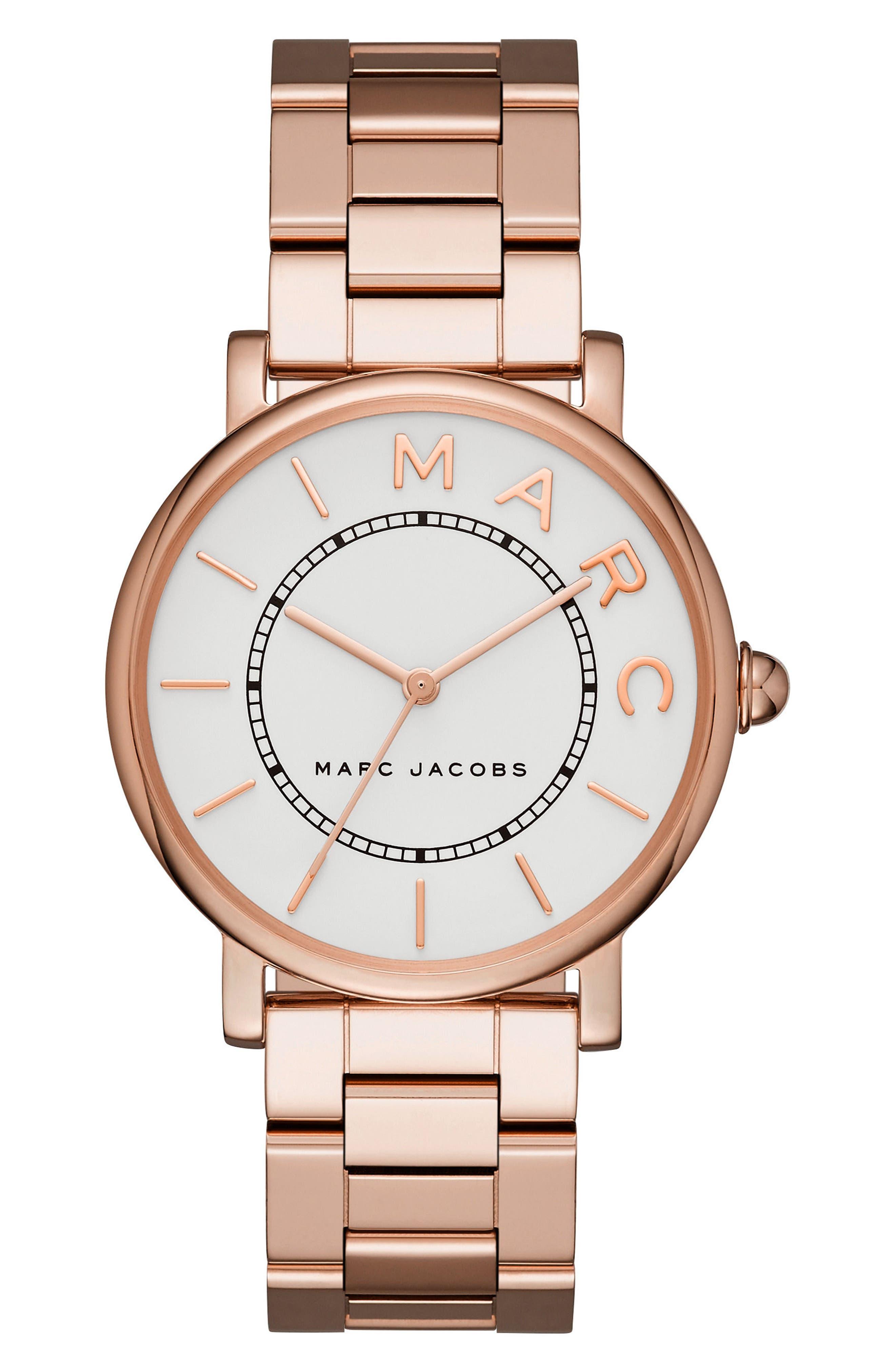 Classic Bracelet Watch, 36mm,                             Main thumbnail 1, color,                             ROSE GOLD/ WHITE SATIN