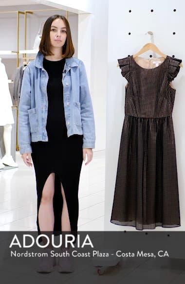 Ruffle Grid Overlay Midi Dress, sales video thumbnail