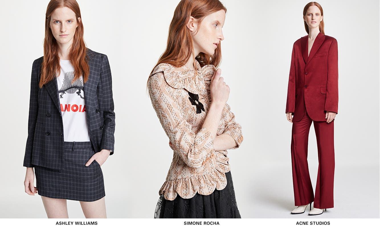 New SPACE trend: tailor made, from Ashley Williams, Simone Rocha, ACNE Studios and more.