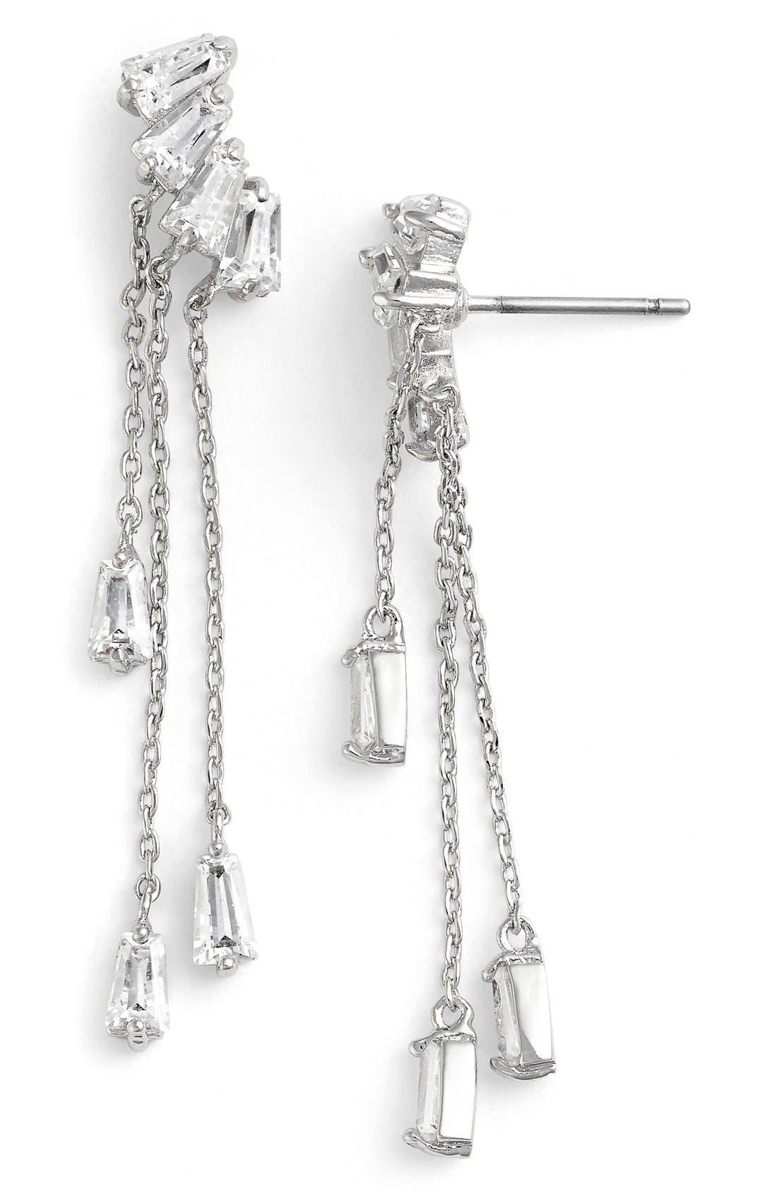 Baguette Fringe Cubic Zirconia Drop Earrings,                             Main thumbnail 1, color,                             040