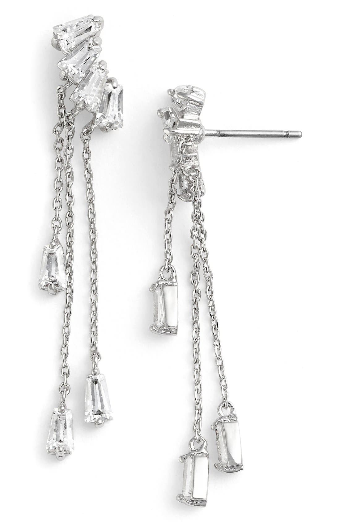 Baguette Fringe Cubic Zirconia Drop Earrings,                         Main,                         color, 040