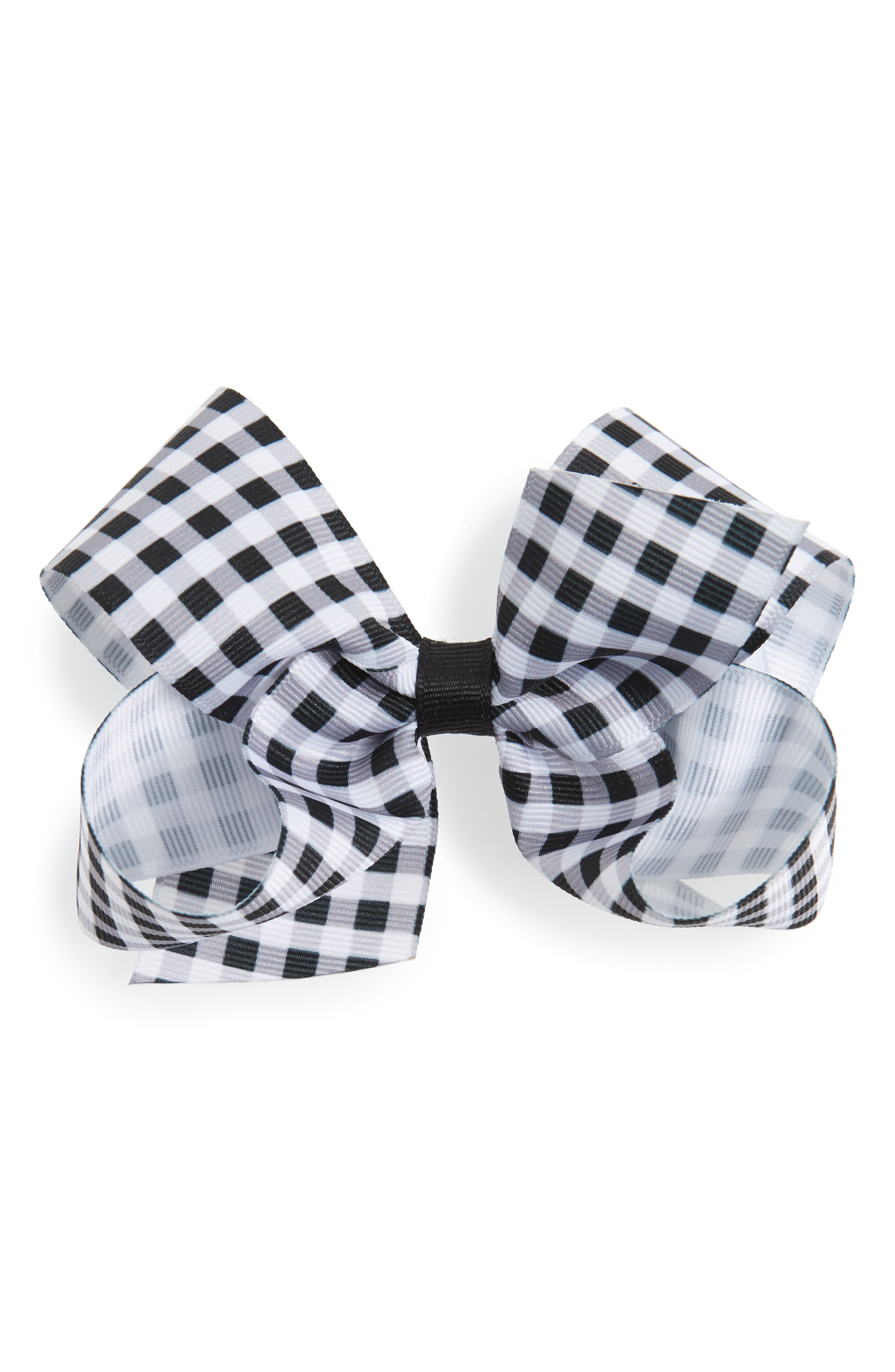 Gingham Bow Clip,                         Main,                         color, BLACK