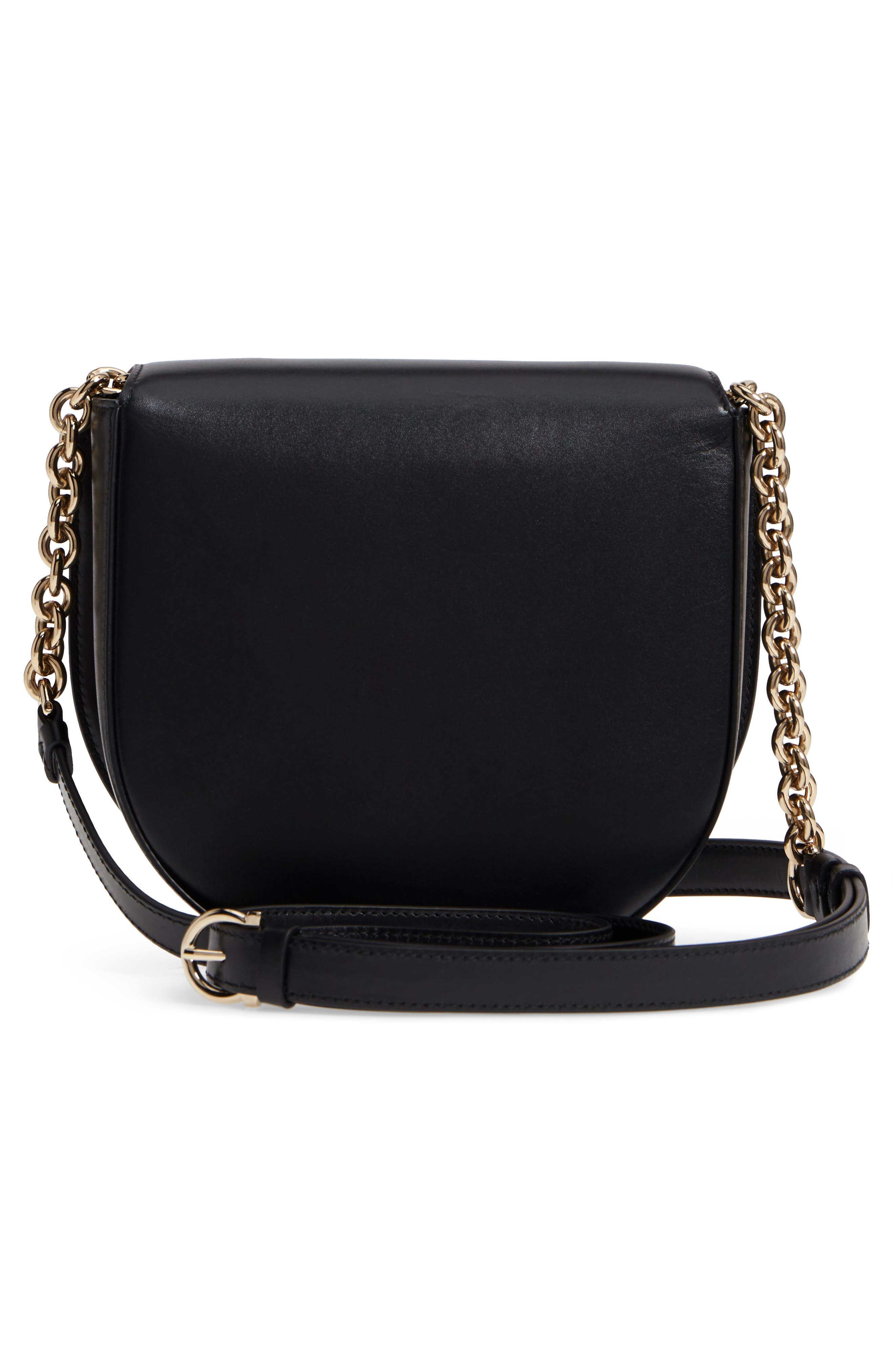 Leather Crossbody Bag,                             Alternate thumbnail 3, color,                             NERO