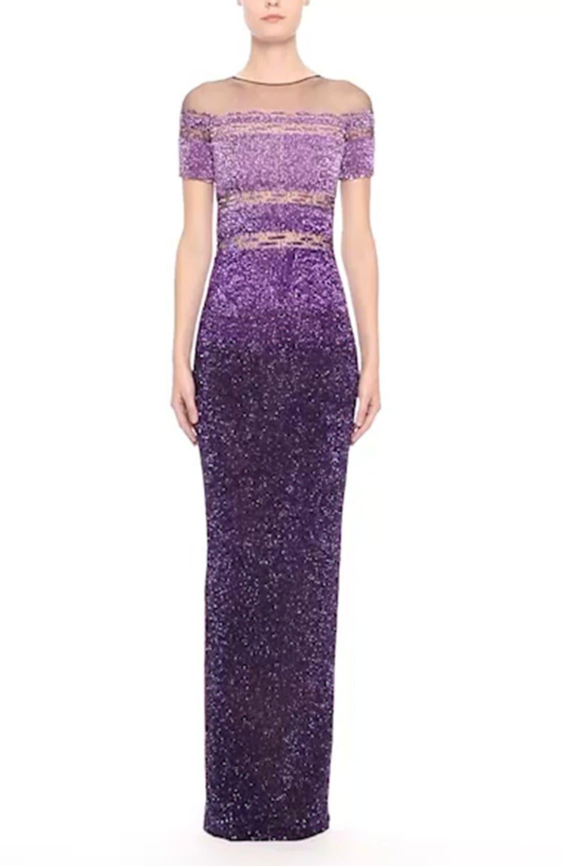 Signature Sequin Short Sleeve Column Gown,                             Alternate thumbnail 7, color,