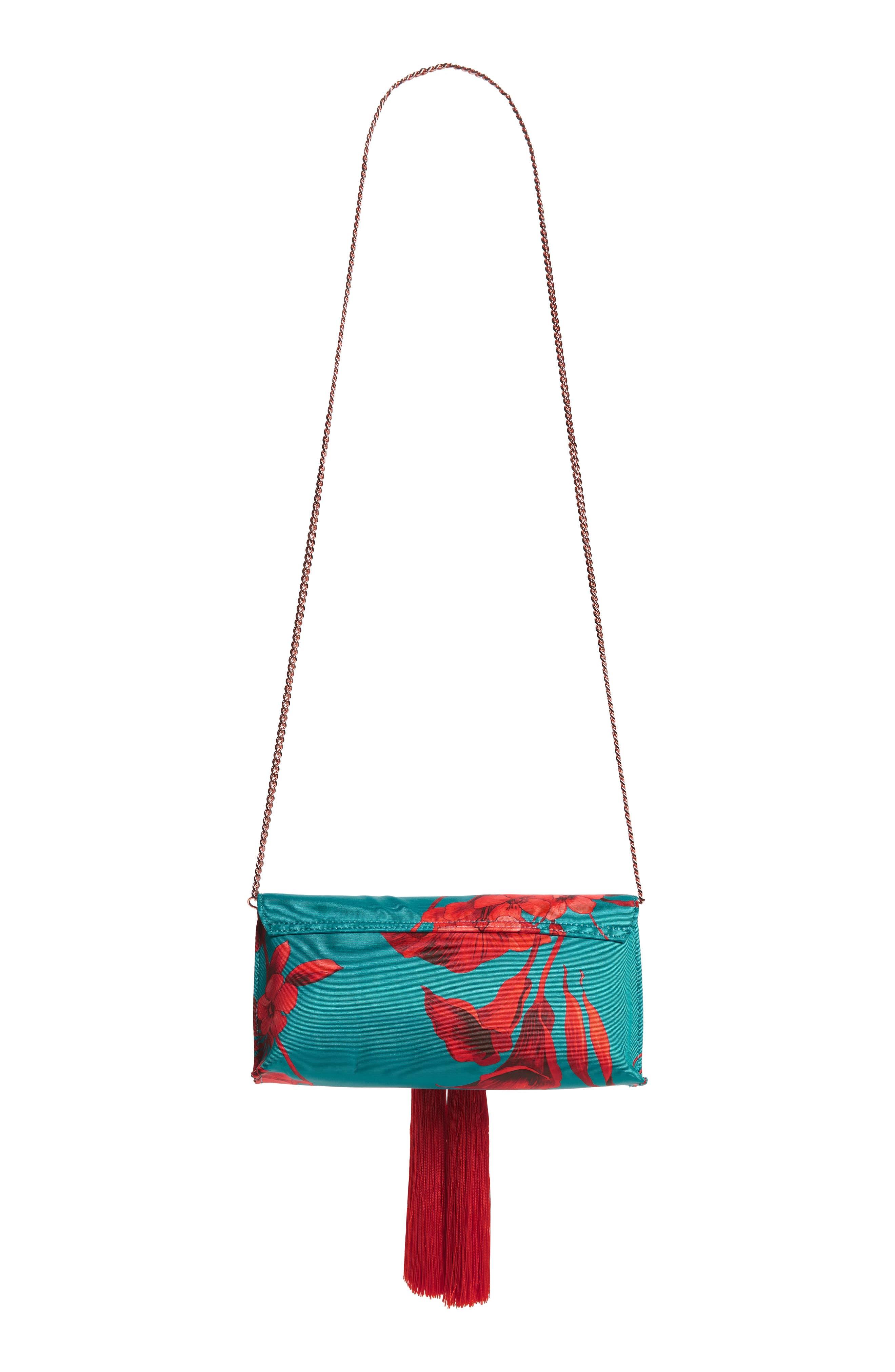 Darlee Fantasia Tassel Bag,                             Alternate thumbnail 4, color,                             TURQUOISE