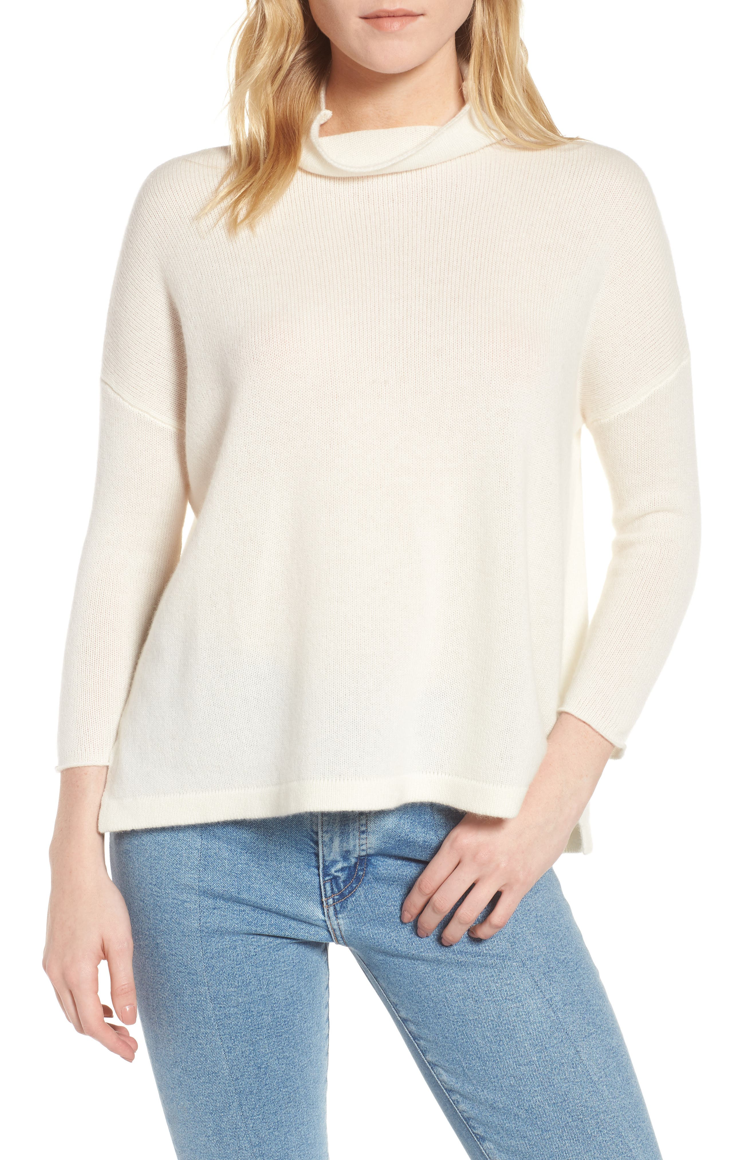Mock Neck Cashmere Sweater,                         Main,                         color, IVORY