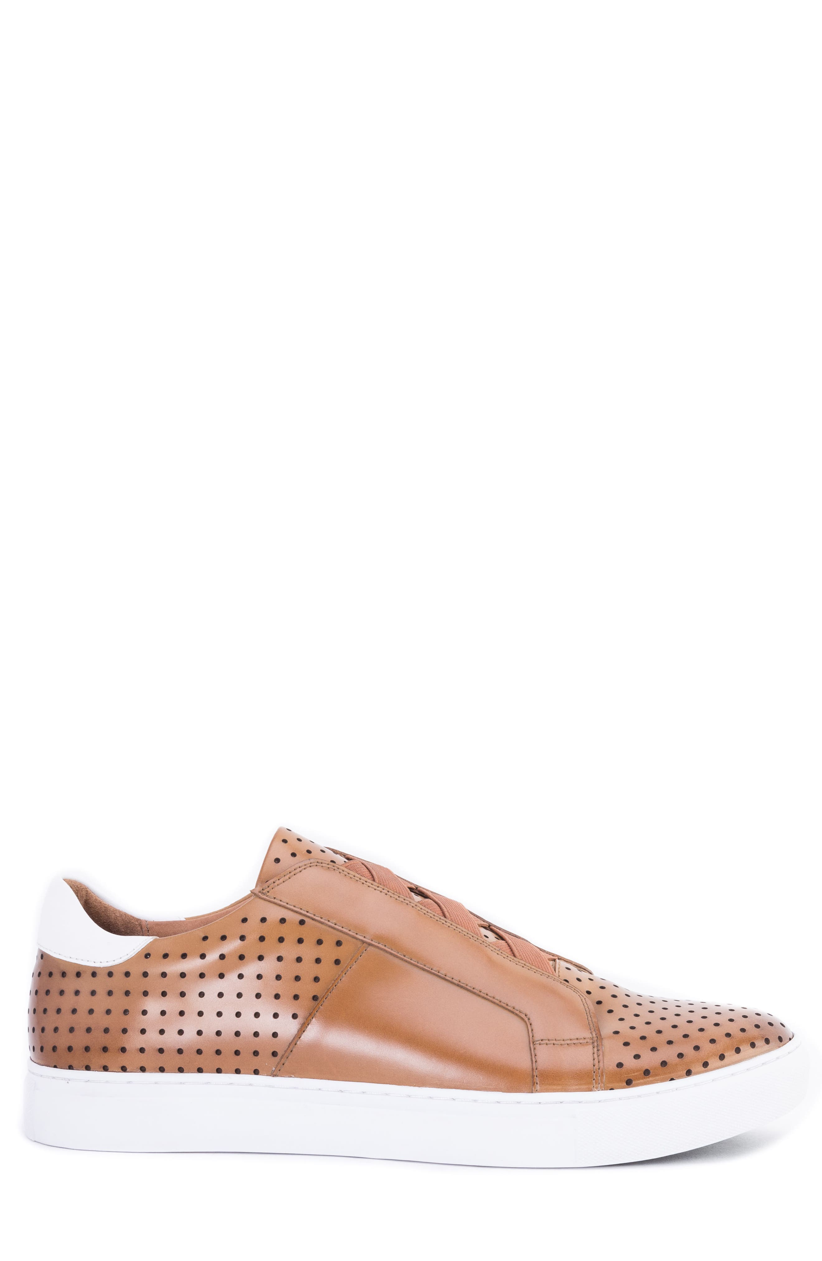 Rowley Perforated Laceless Sneaker,                             Alternate thumbnail 3, color,                             COGNAC LEATHER