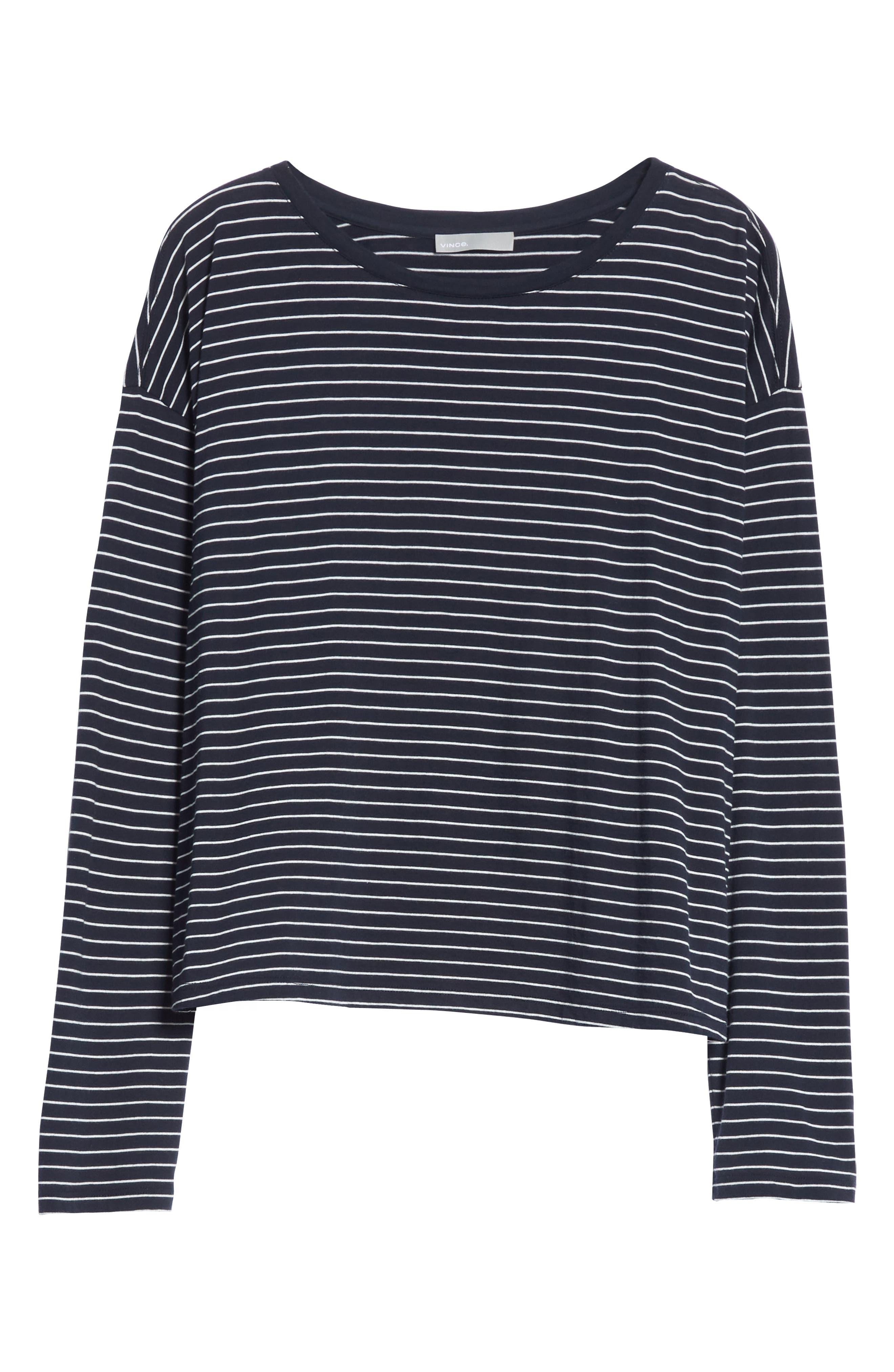 Pencil Stripe Pima Cotton Pullover Top,                             Alternate thumbnail 6, color,                             COASTAL/ VANILLA