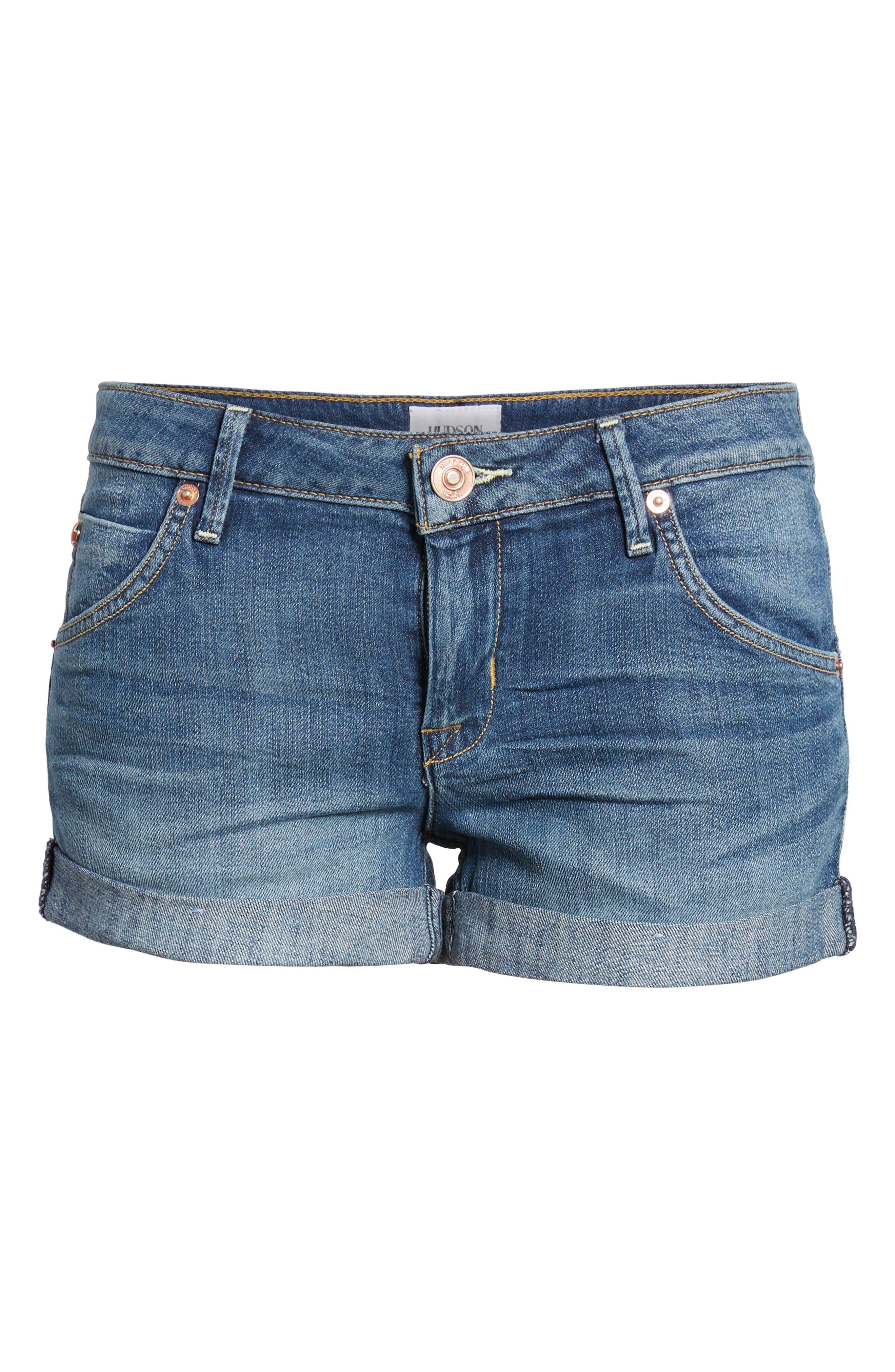 Cuff Denim Shorts,                             Alternate thumbnail 2, color,                             420