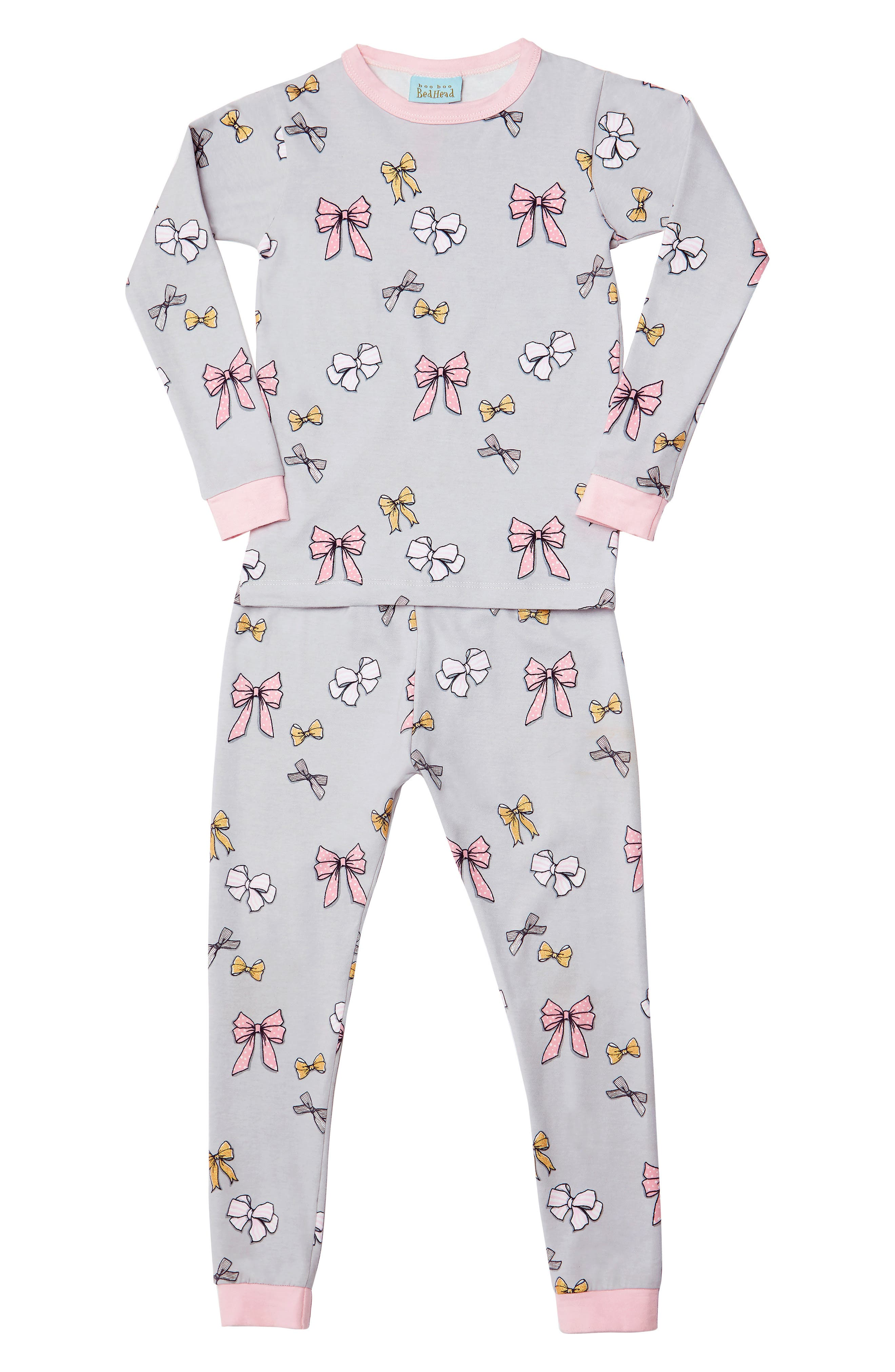 Print Fitted Two-Piece Pajamas,                         Main,                         color, ALL TIED UP