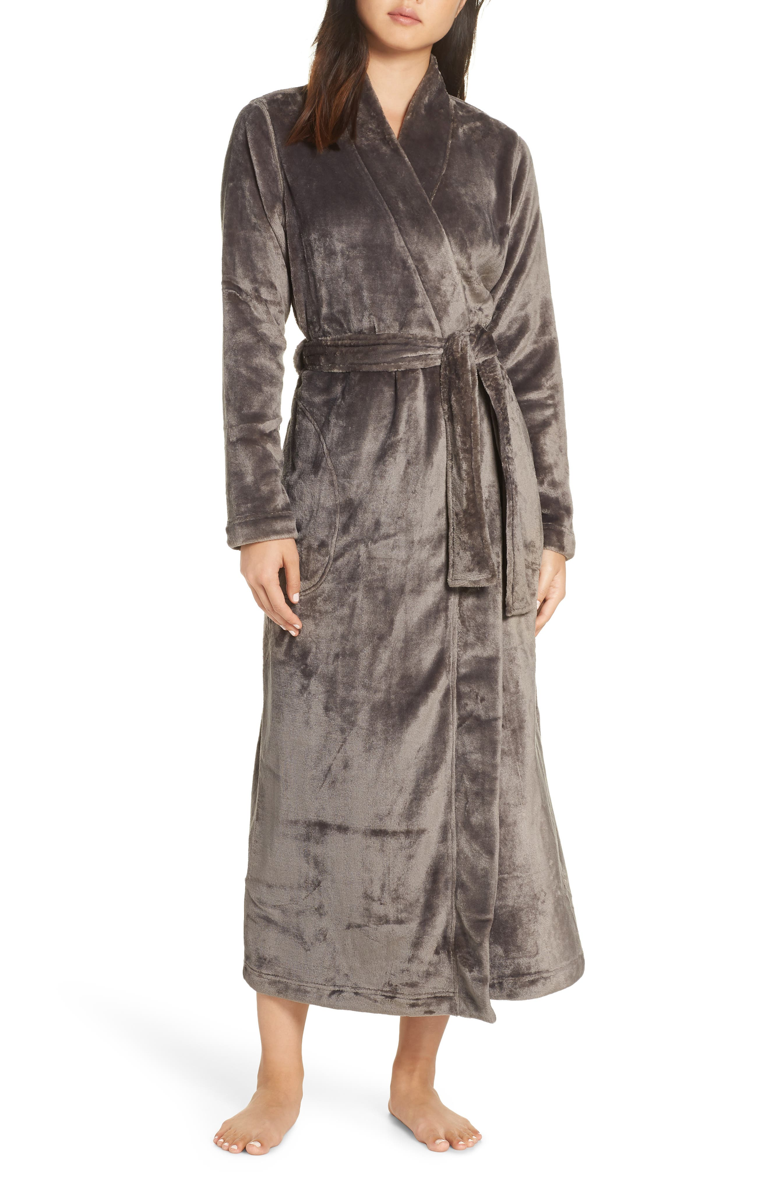 Marlow Double-Face Fleece Robe,                         Main,                         color, CHARCOAL