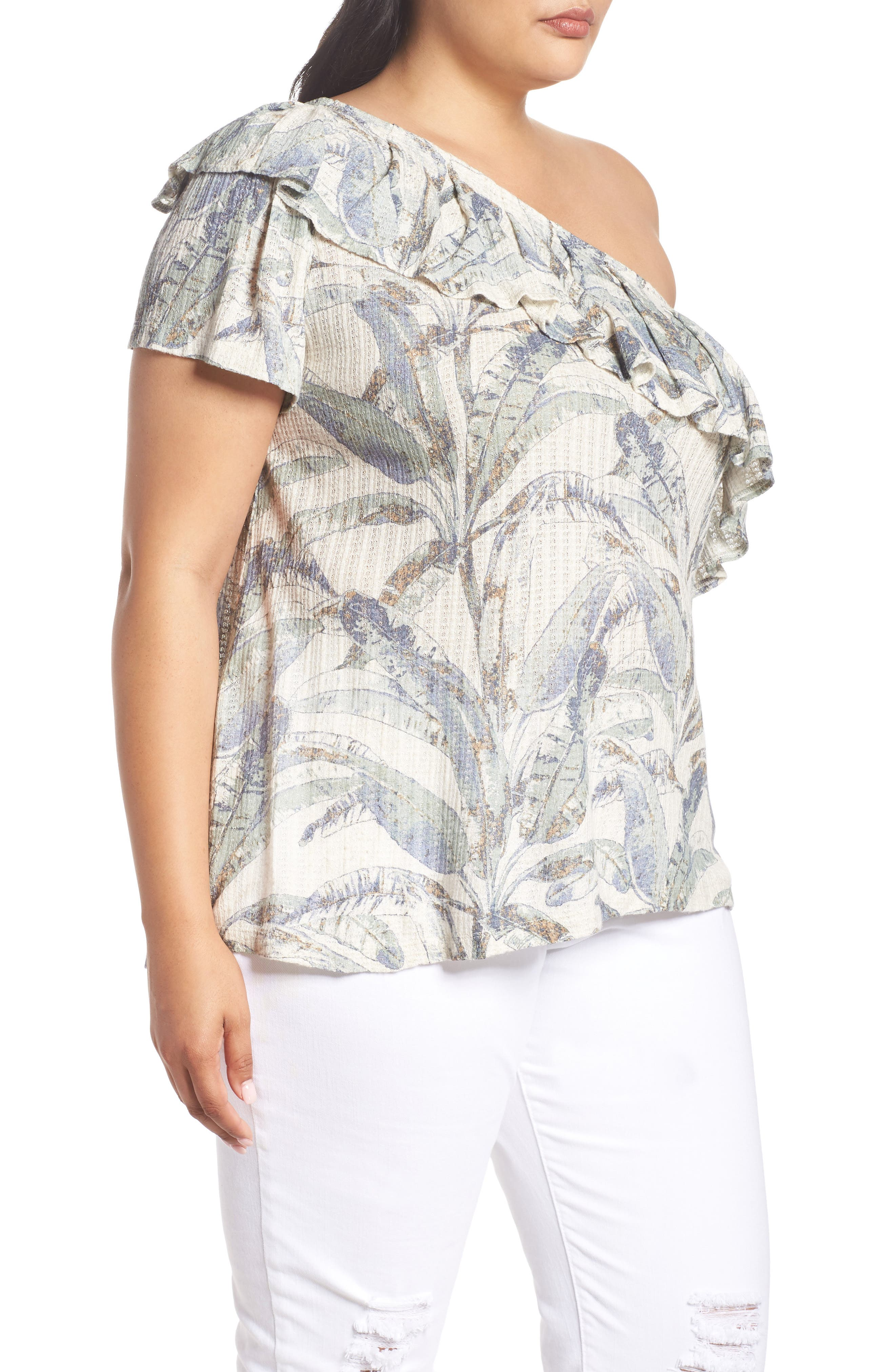 Tropical One-Shoulder Top,                             Alternate thumbnail 3, color,                             NATURAL MULTI MYSTERY ISLAND