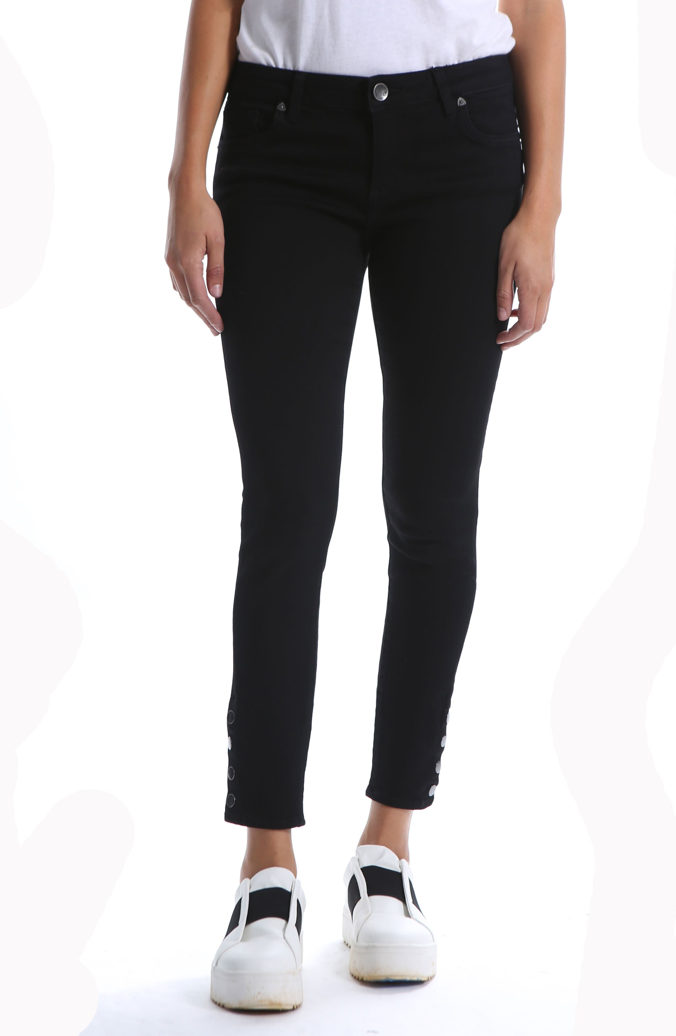 Snap Ankle Jeans,                             Main thumbnail 1, color,                             BLACK 2