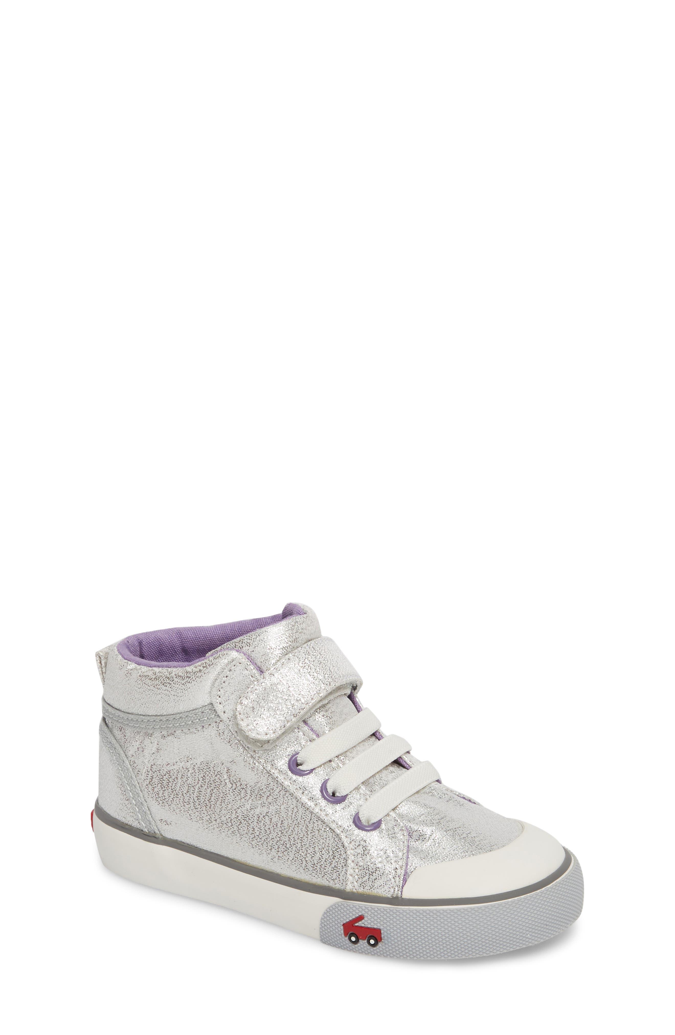 Peyton Metallic Mid Top Sneaker,                             Main thumbnail 1, color,                             SILVER GLITTER