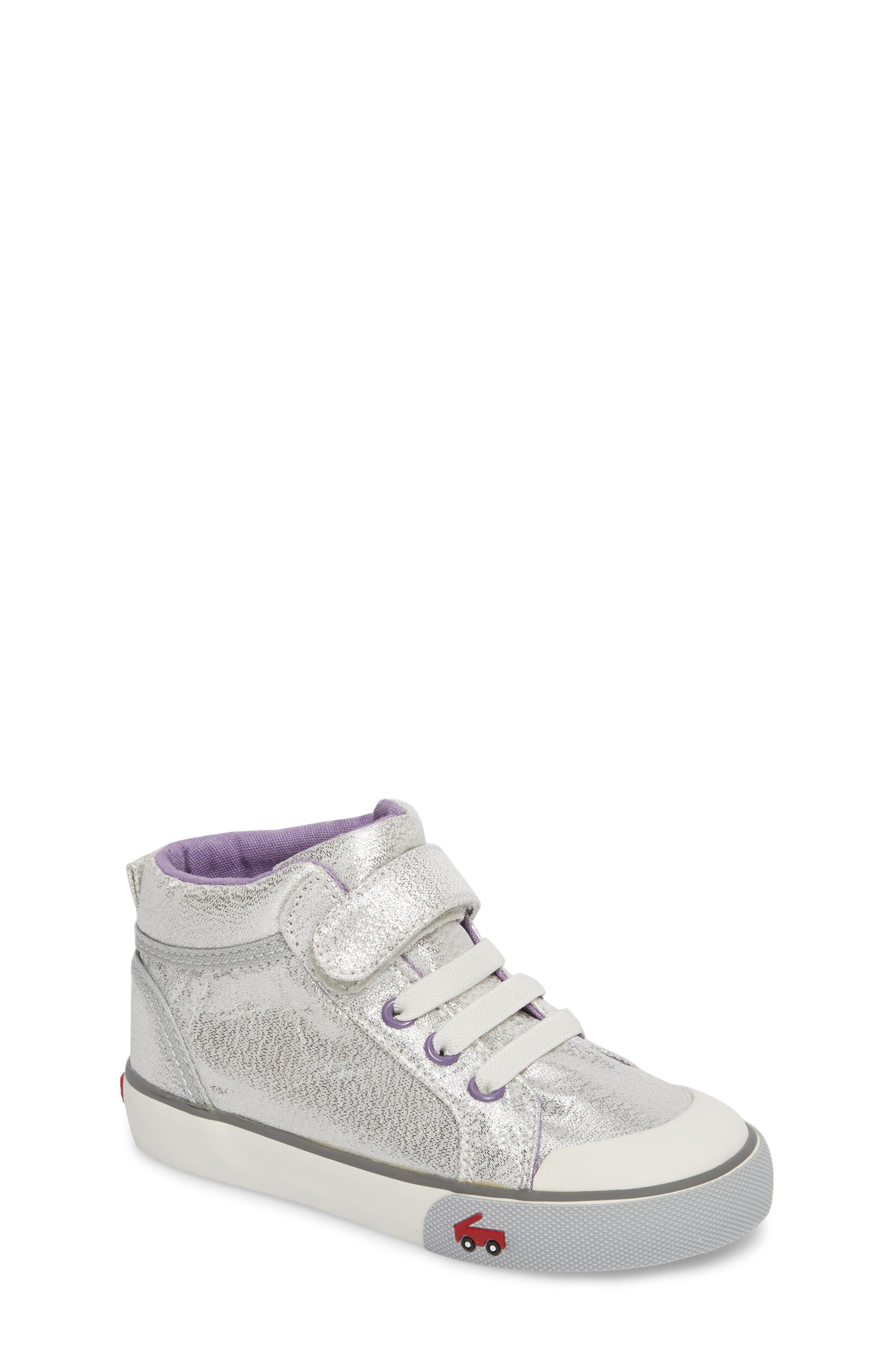 Peyton Metallic Mid Top Sneaker,                         Main,                         color, SILVER GLITTER
