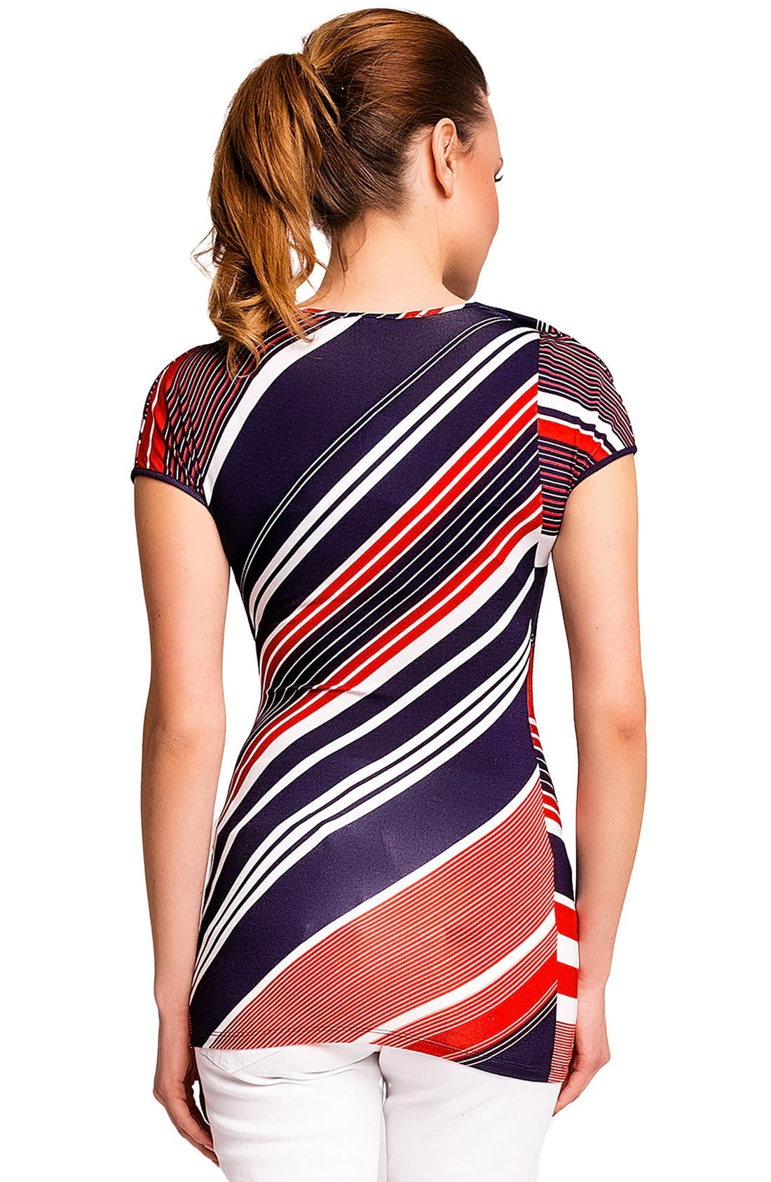 'Ginestra' Maternity/Nursing Tunic,                             Alternate thumbnail 2, color,                             RED/BLUE STRIPES