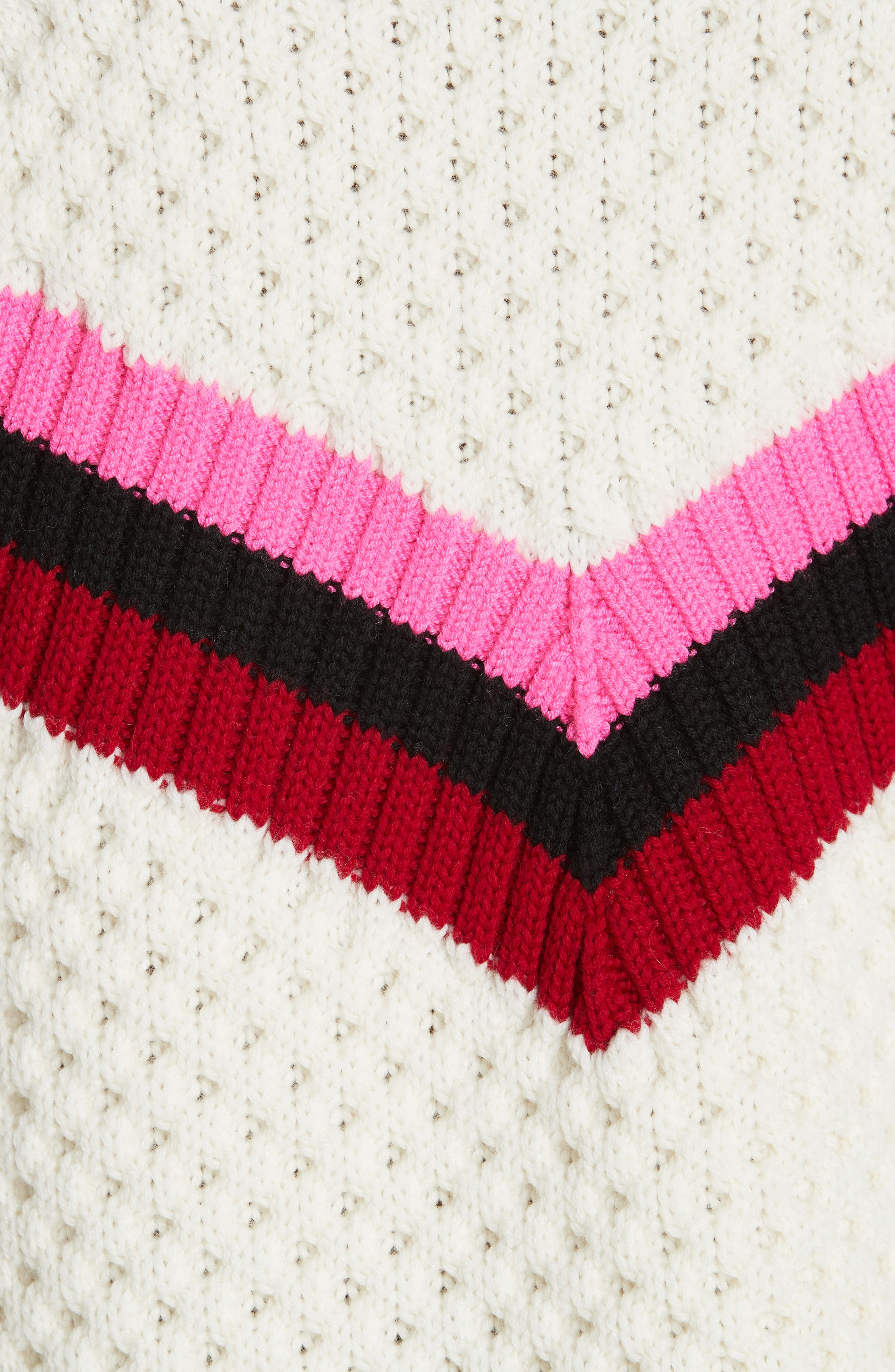 Varsity Stripe Popcorn Stitch Wool Blend Sweater,                             Alternate thumbnail 5, color,                             WHITE MULTI