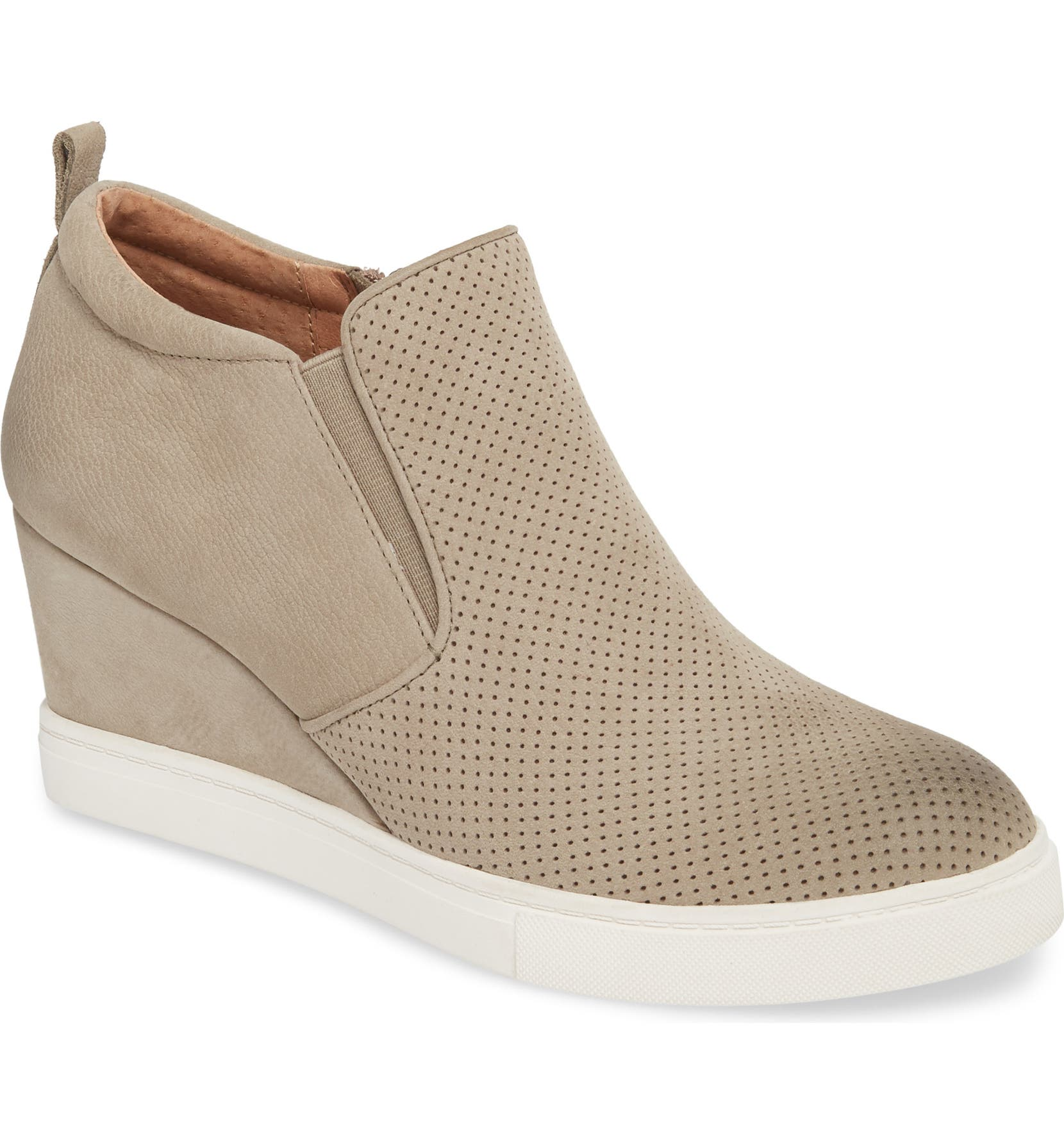 Aiden Wedge Sneaker,                         Main,                         color, TAUPE PERFORATED LEATHER