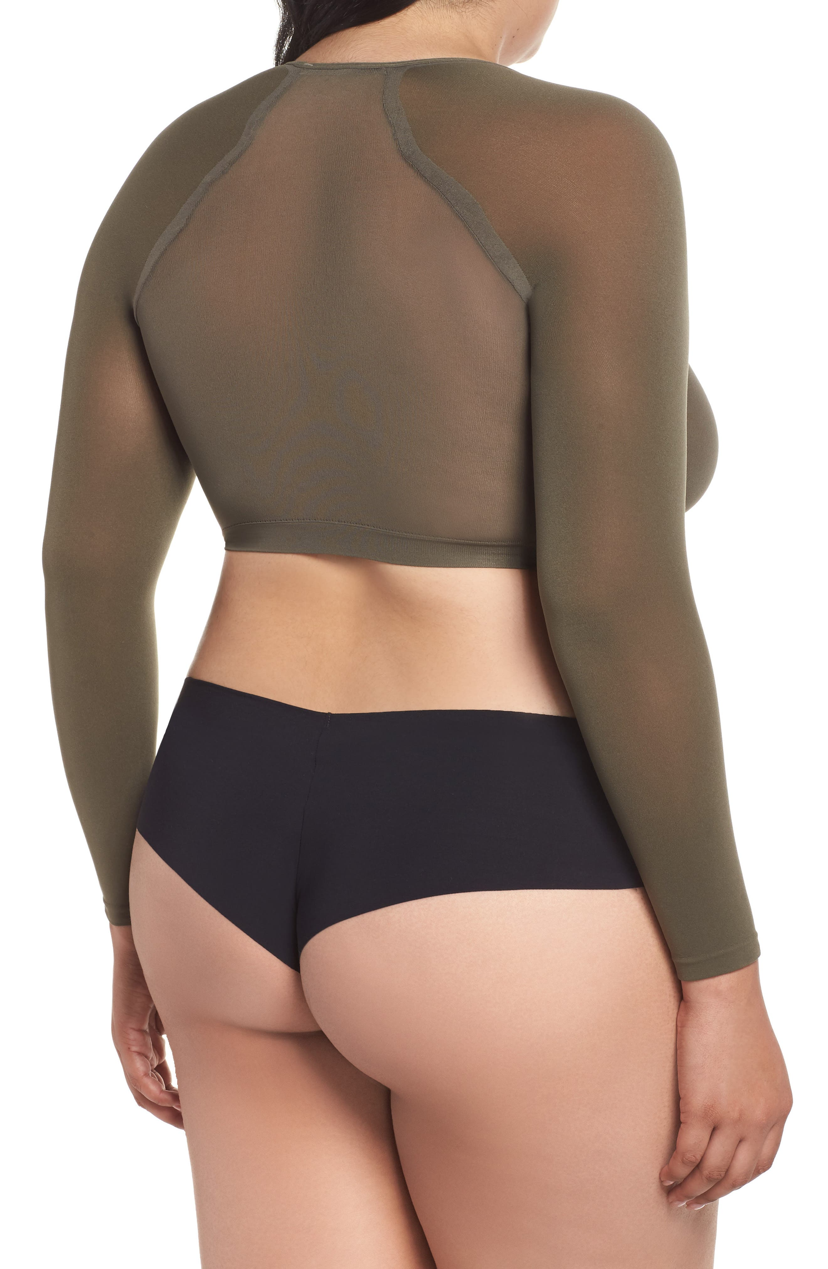 Arm Tights<sup>™</sup> Crop Top,                             Alternate thumbnail 2, color,                             DARK OLIVE