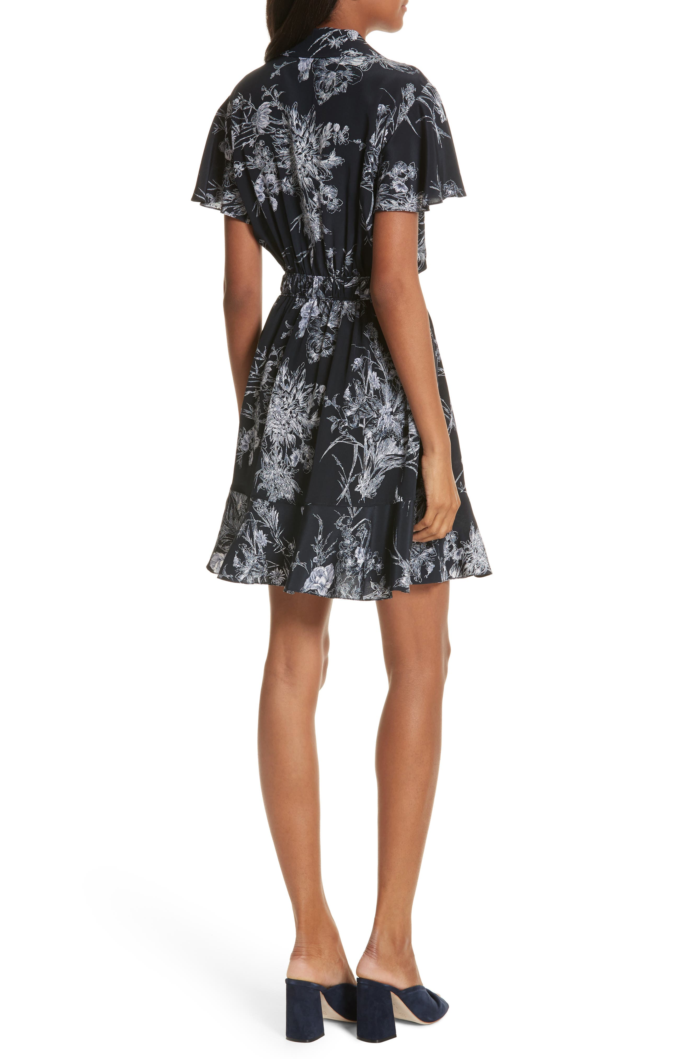 Quincy Flutter Trim Silk Dress,                             Alternate thumbnail 2, color,                             418