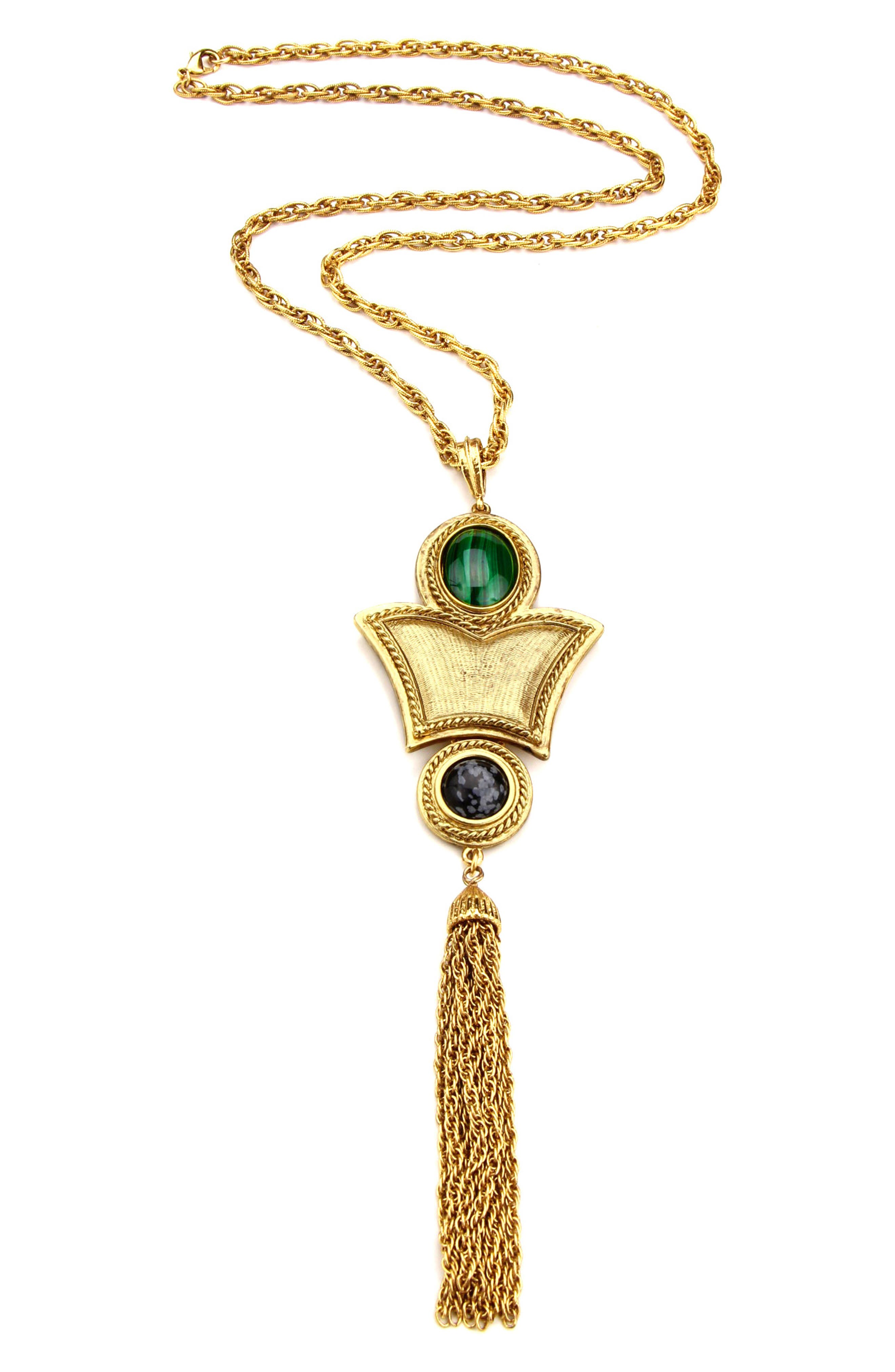 Multicolor Stone Tassel Long Pendant Necklace