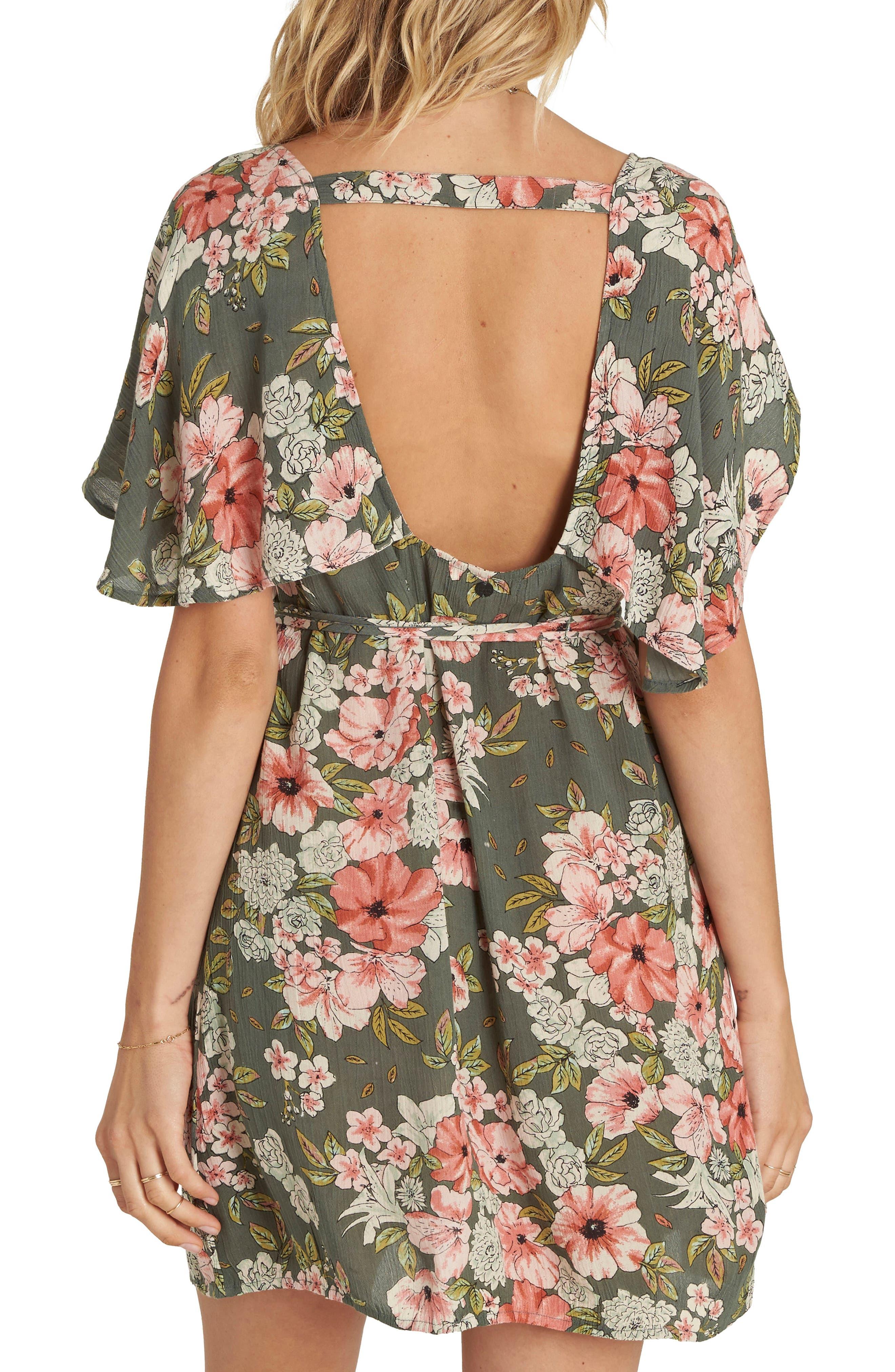Fine Flutter Floral Print Dress,                             Alternate thumbnail 2, color,                             CLOVER