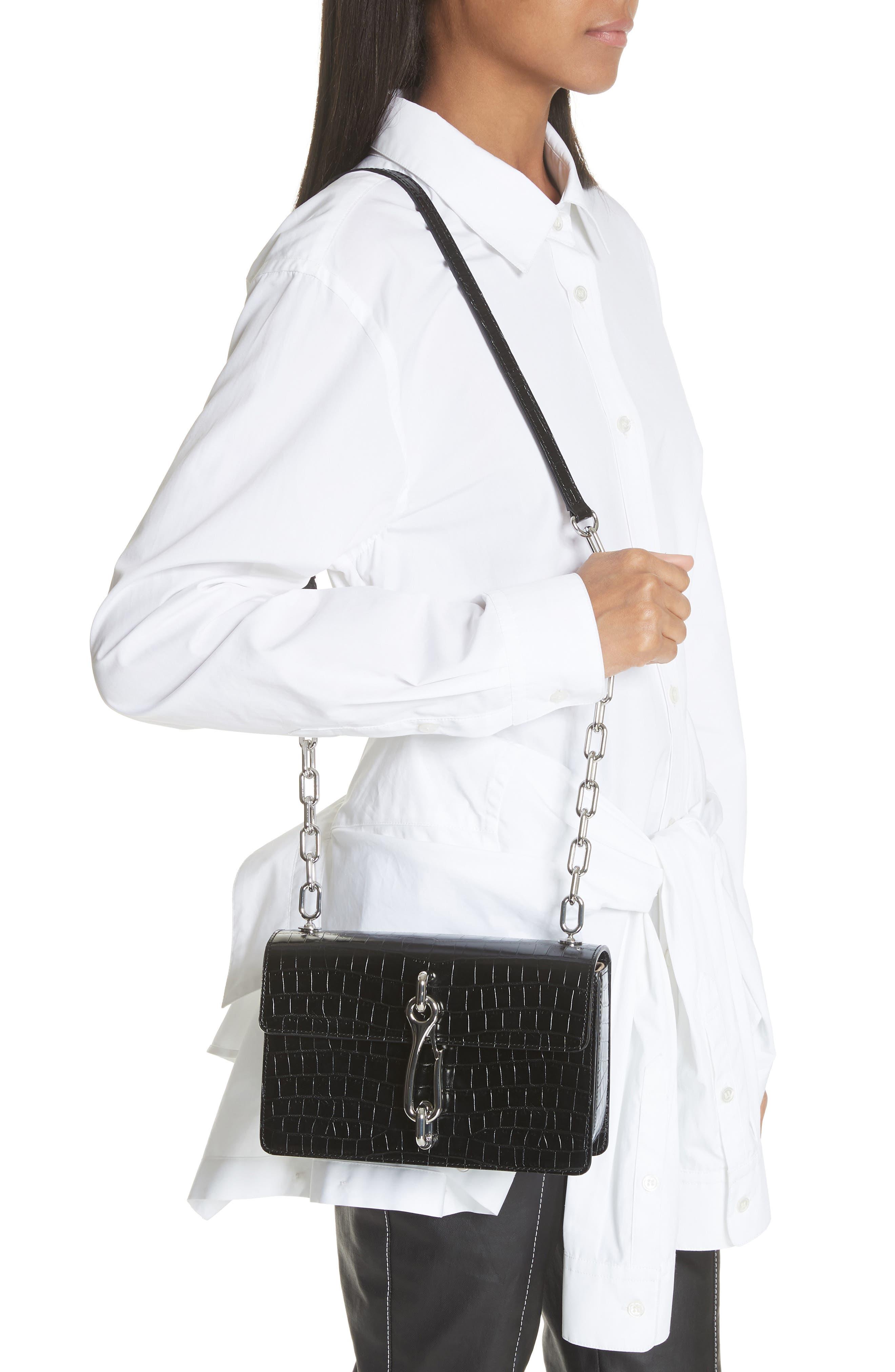 Hook Medium Leather Shoulder/Crossbody Bag,                             Alternate thumbnail 2, color,                             001