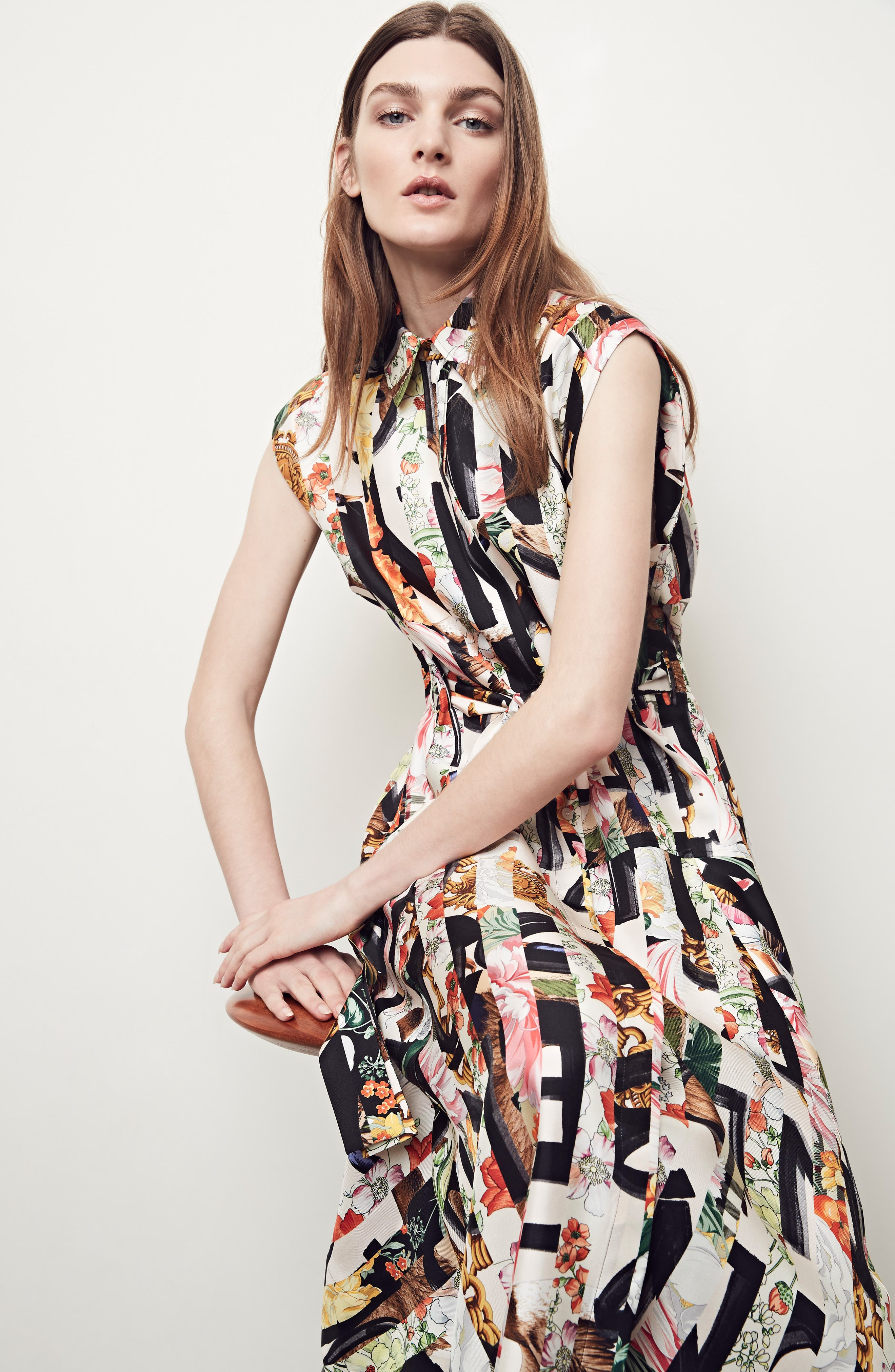 Sacha Silk Dress,                             Alternate thumbnail 10, color,                             MULTICOLOUR IP PTTN