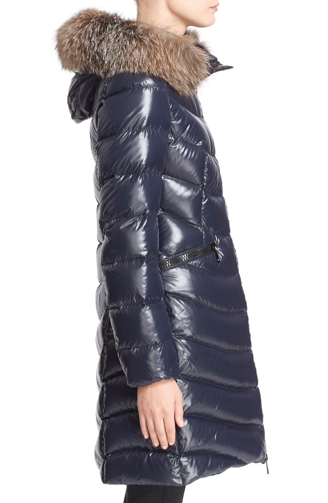 'Aphia' Water Resistant Shiny Nylon Down Puffer Coat with Removable Genuine Fox Fur Trim,                             Alternate thumbnail 2, color,                             419