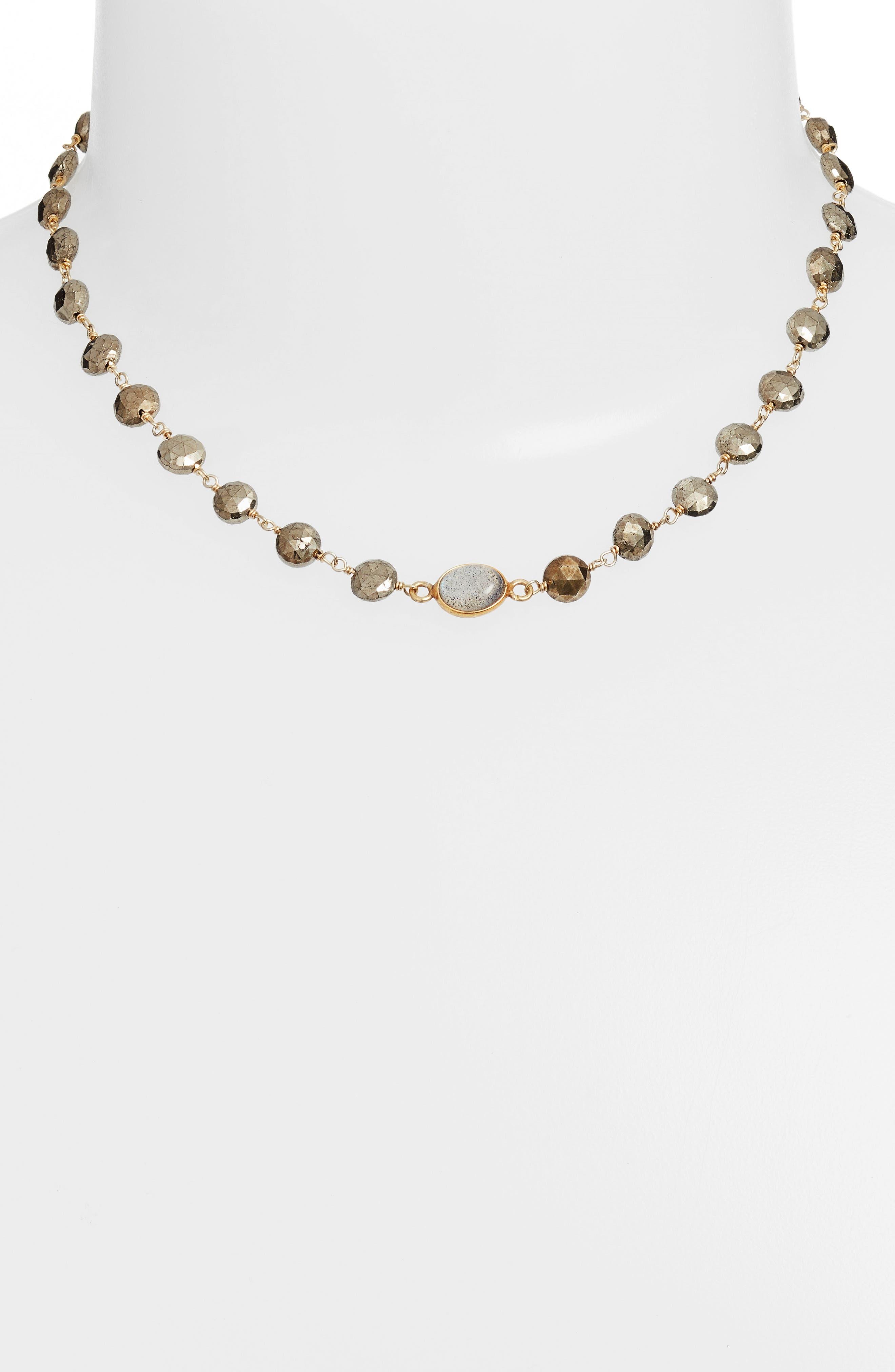 Beaded Collar Necklace,                             Alternate thumbnail 2, color,                             PYRITE/ LABRADORITE