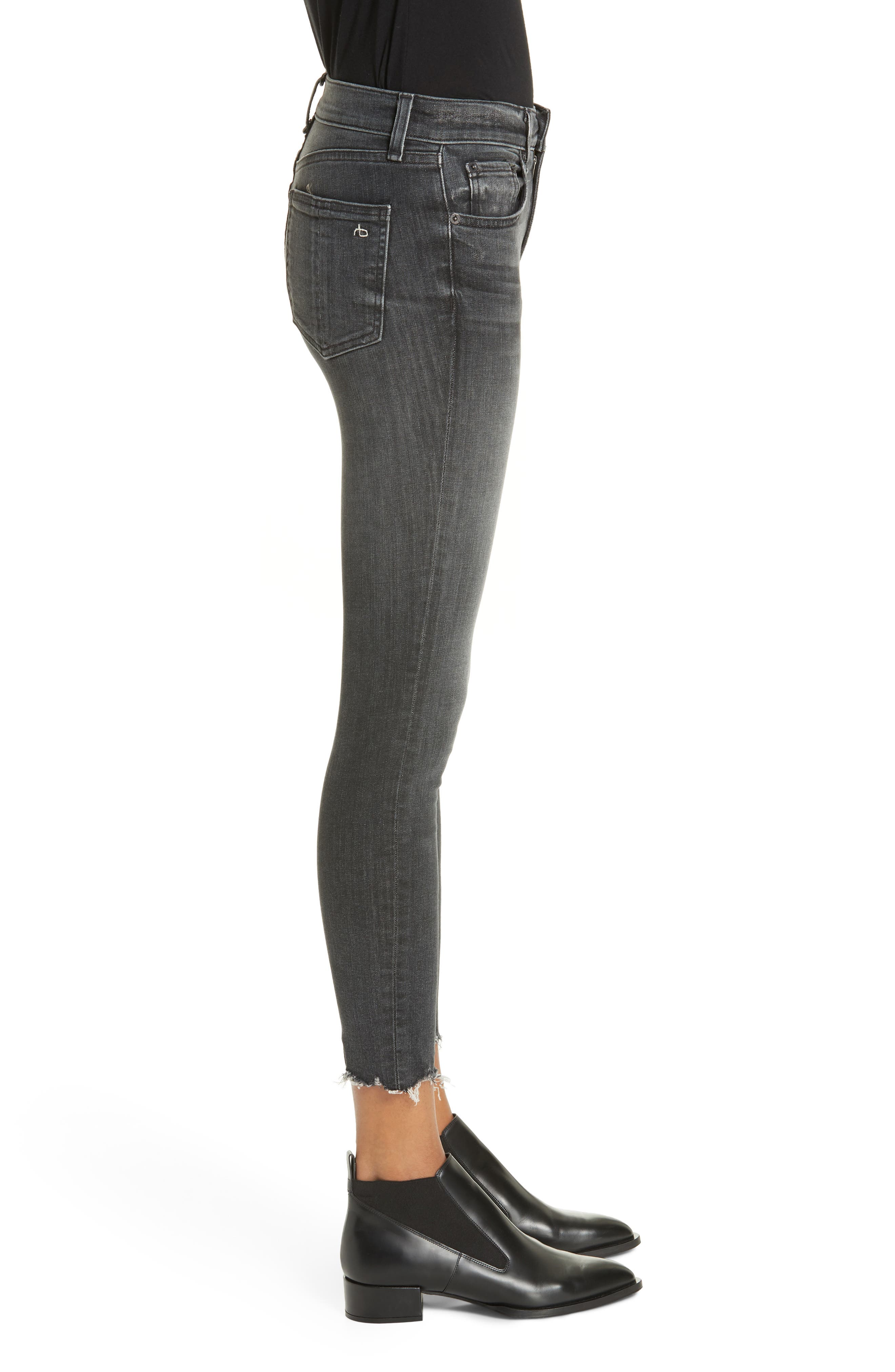 rag & bone High Waist Raw Hem Crop Skinny Jeans,                             Alternate thumbnail 3, color,                             BRANDI