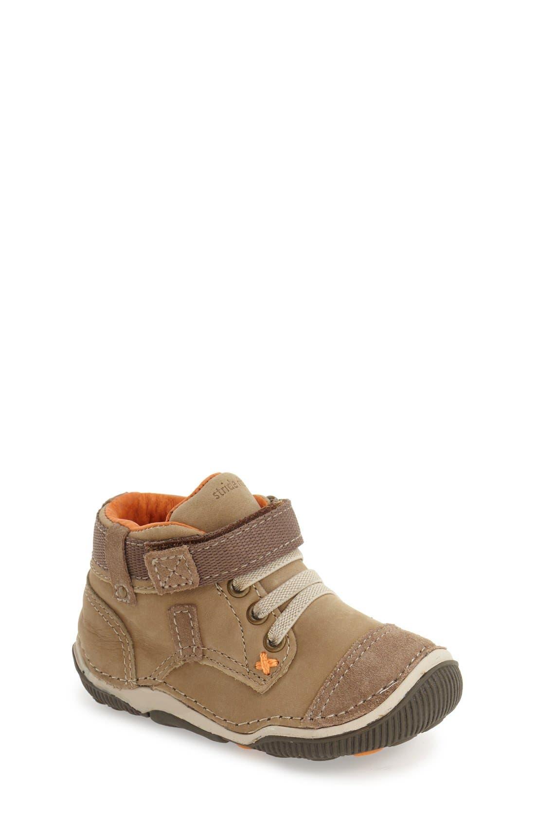'Garrett' High Top Bootie Sneaker,                             Main thumbnail 1, color,                             BROWN