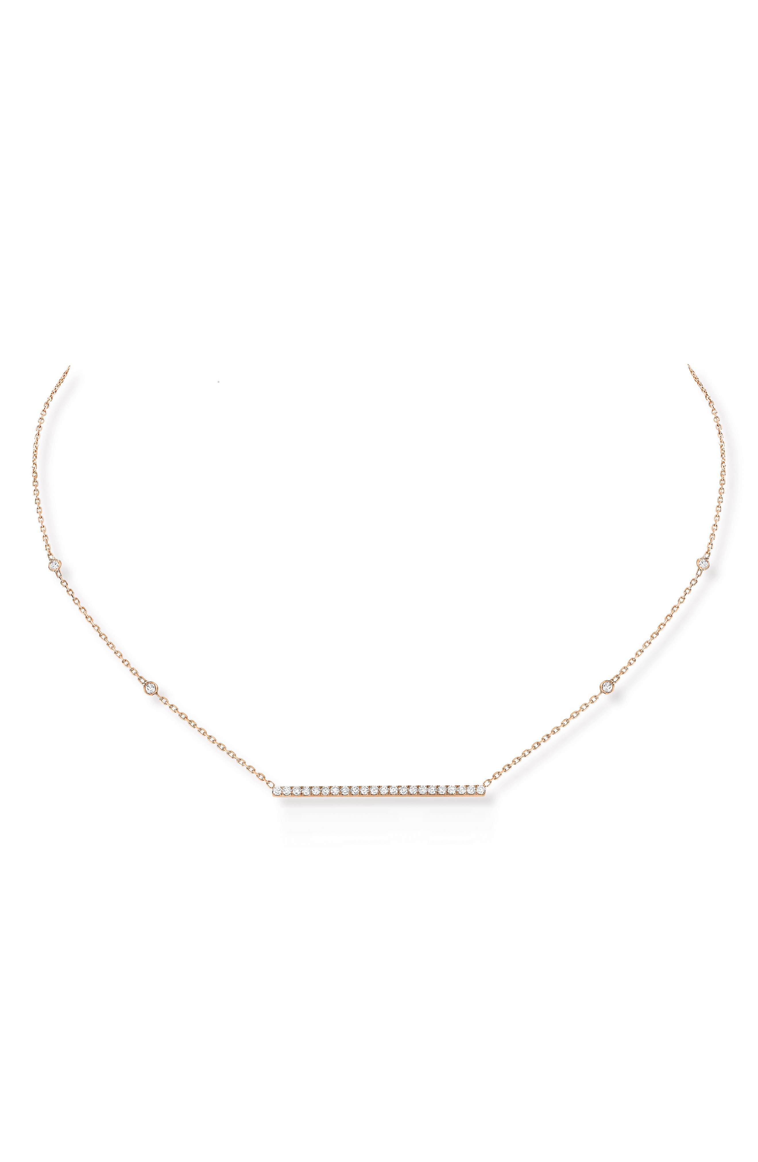 Gatsby Diamond Bar Necklace,                         Main,                         color, ROSE GOLD