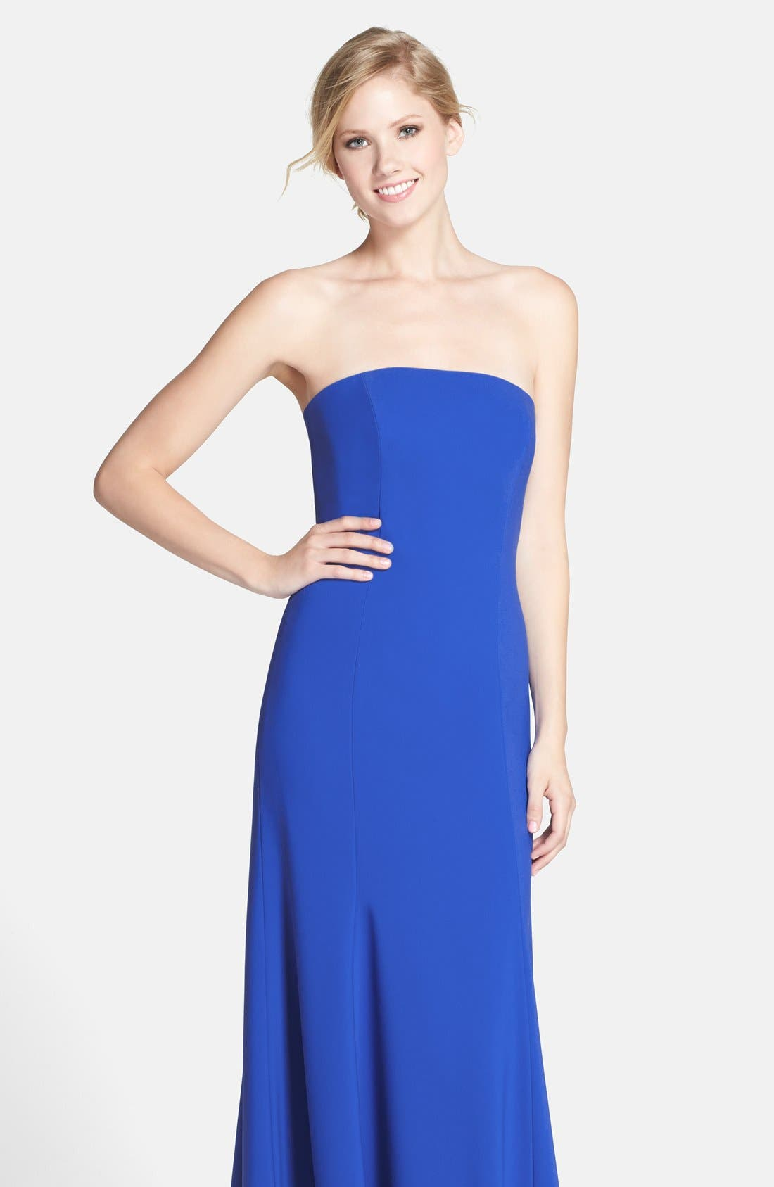 Strapless Crepe Trumpet Gown,                             Alternate thumbnail 17, color,